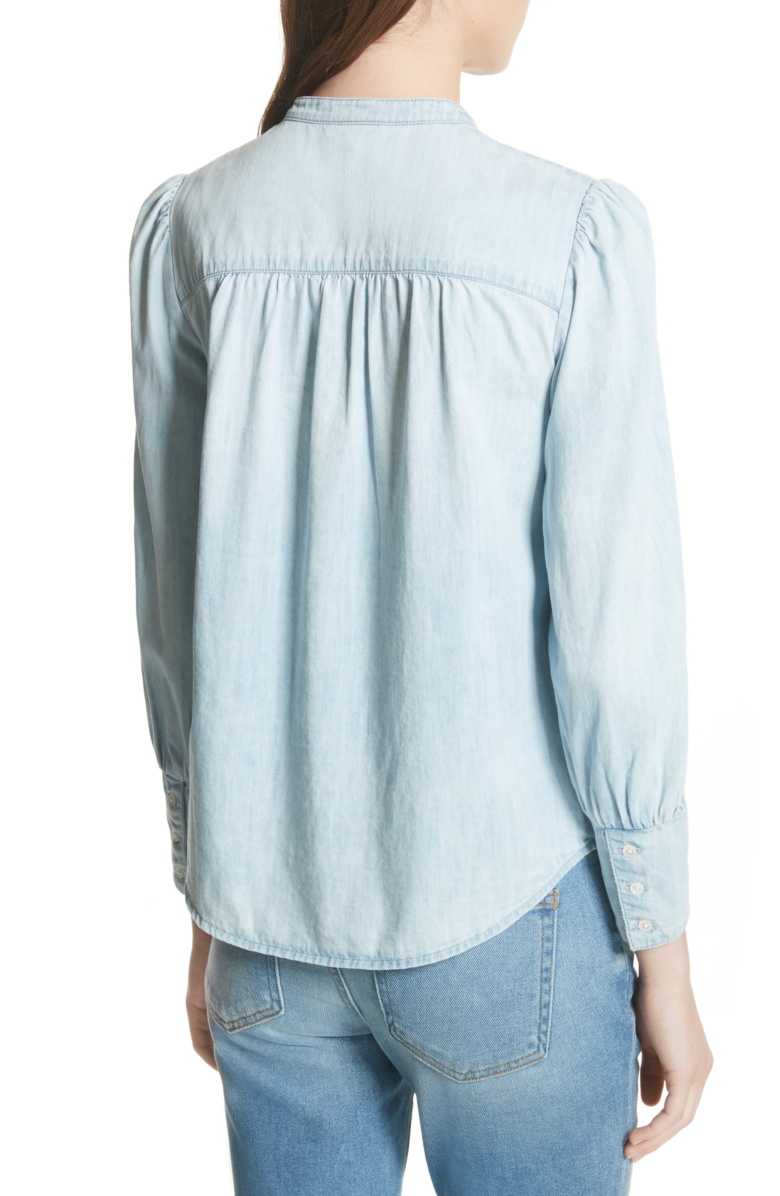 Aubrielle Silk Cotton Chambray Top,                             Alternate thumbnail 2, color,                             Western Fade