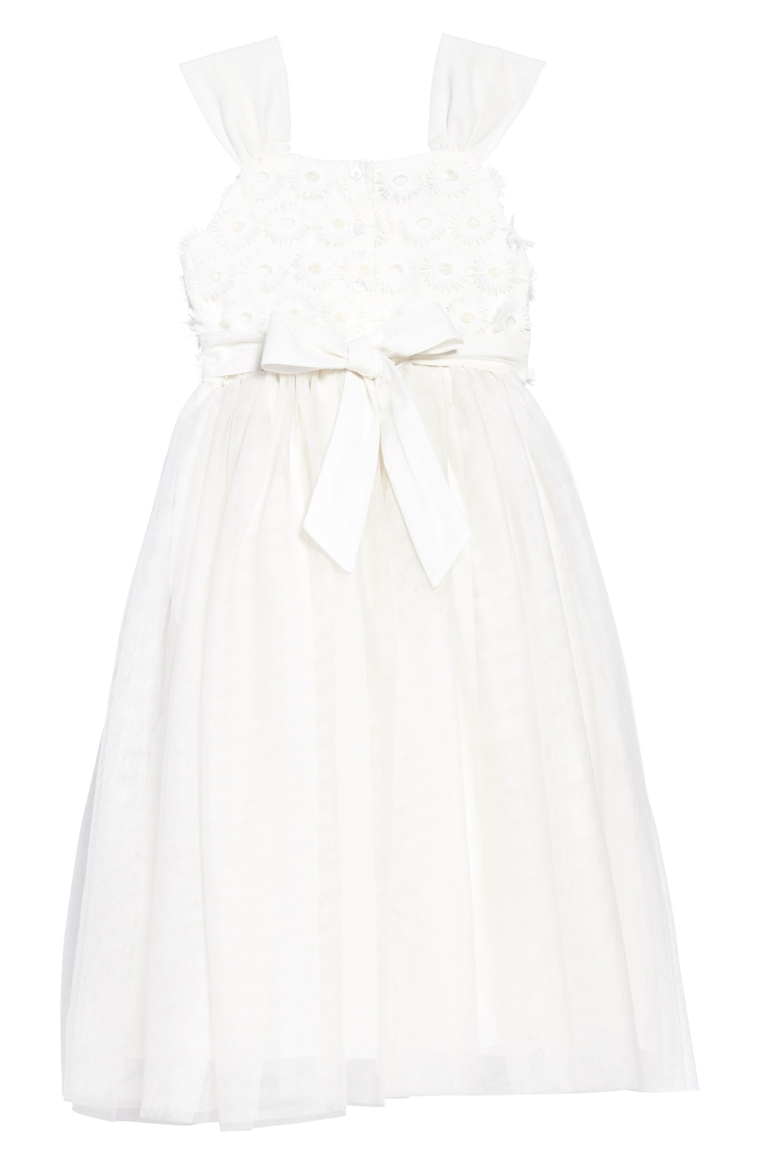 Embroidered Daisy Tulle Dress,                             Alternate thumbnail 2, color,                             White