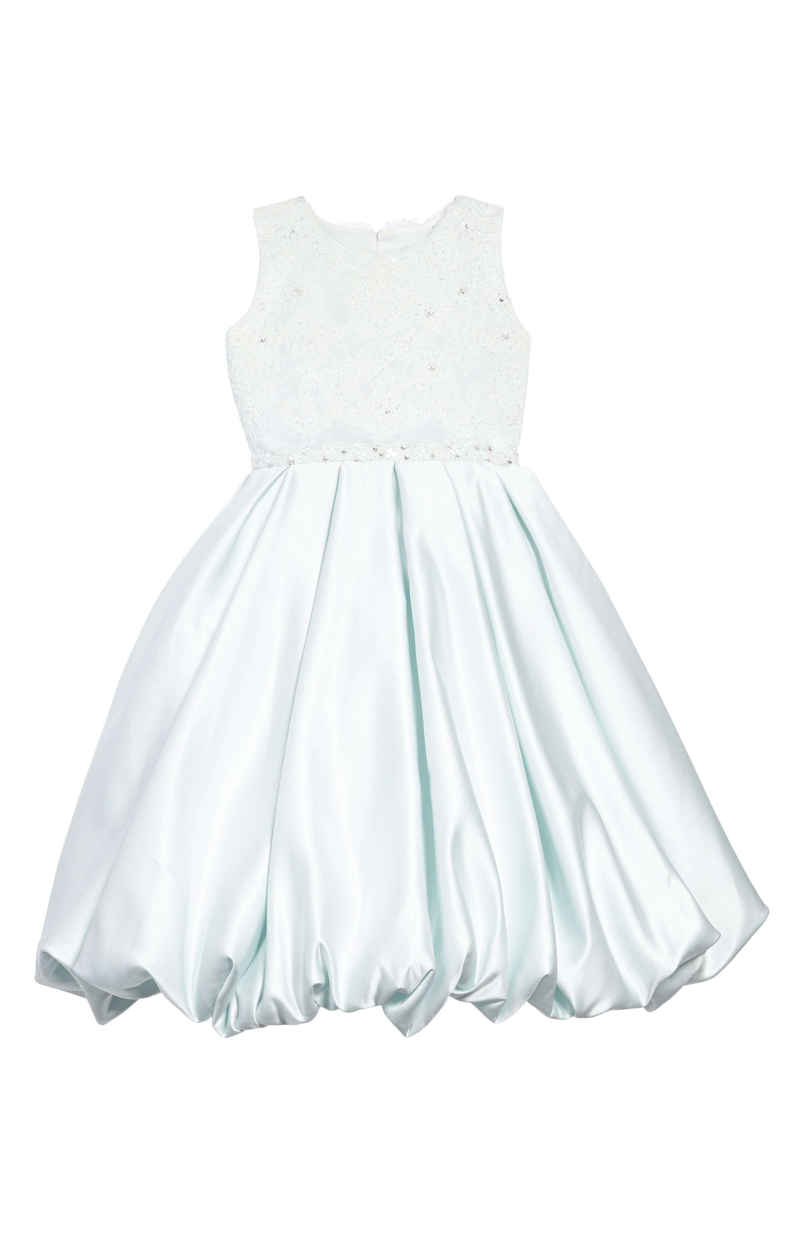 Beaded Lace & Satin First Communion Dress,                             Main thumbnail 1, color,                             Mist/ Ivory