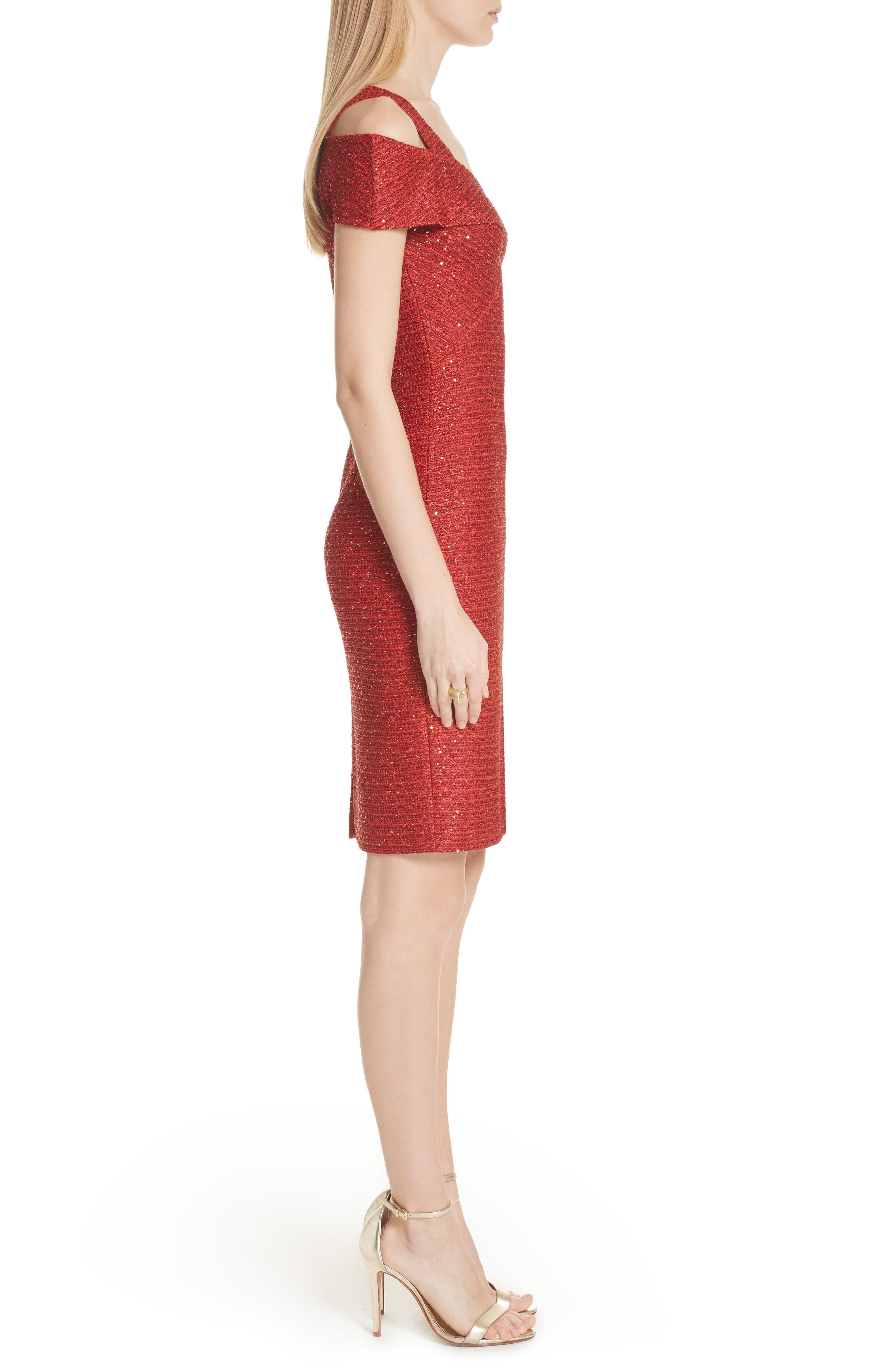 Glamour Sequin Knit Cold Shoulder Dress,                             Alternate thumbnail 3, color,                             Sienna Multi