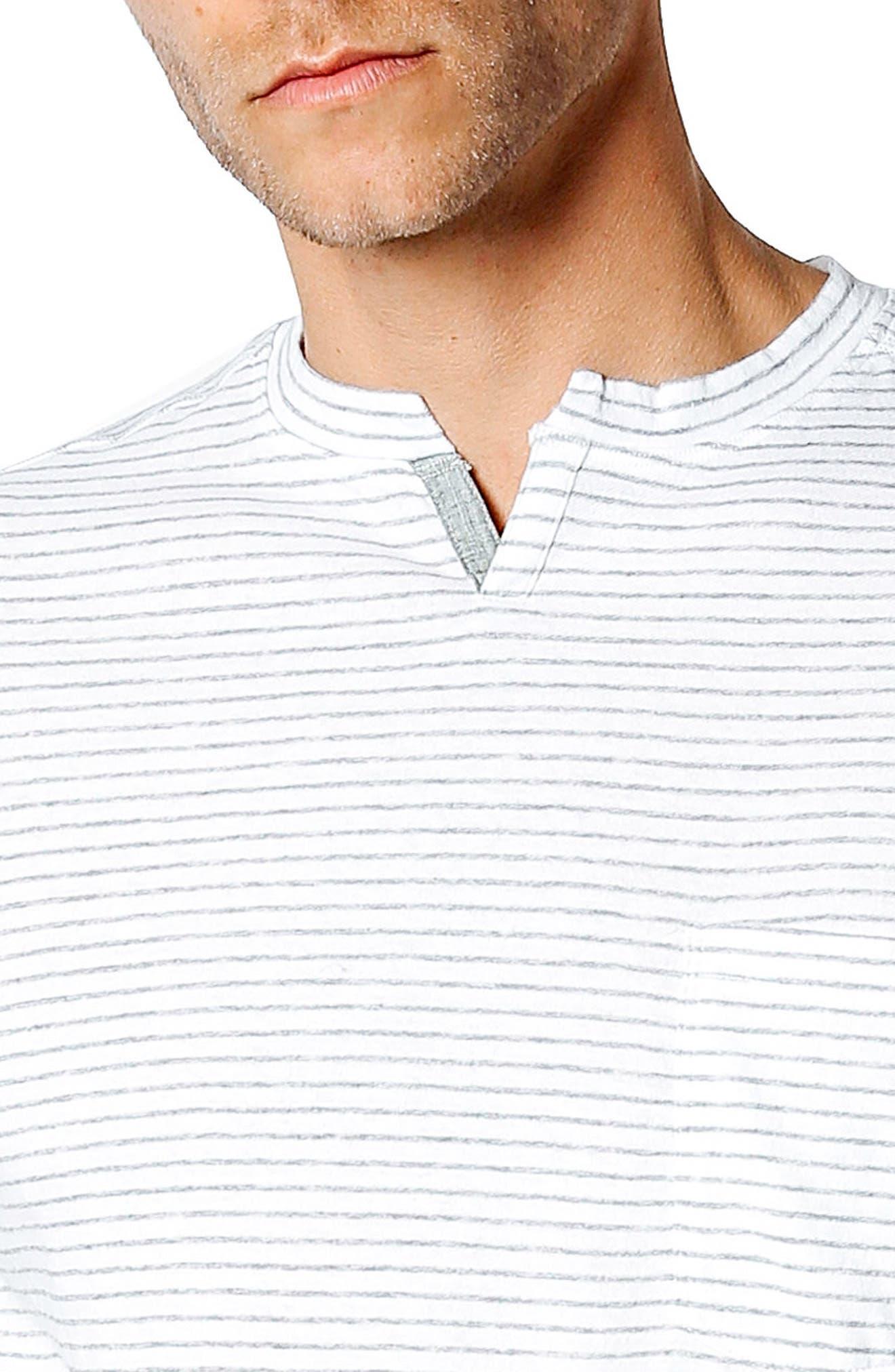 Slim Fit Stripe T-Shirt,                             Alternate thumbnail 4, color,                             White / Grey Heather