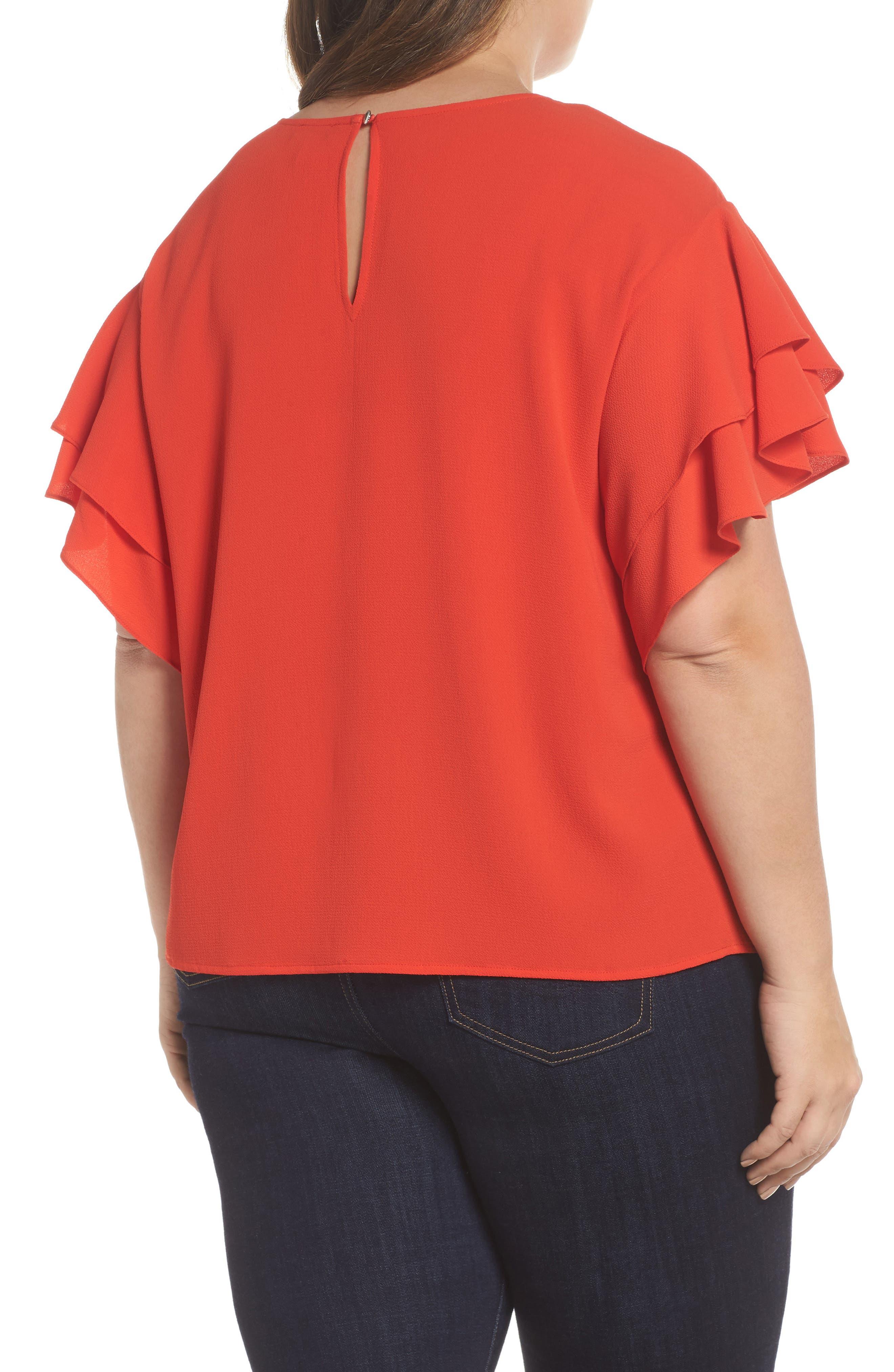 Tiered Ruffle Sleeve Top,                             Alternate thumbnail 2, color,                             Geranium