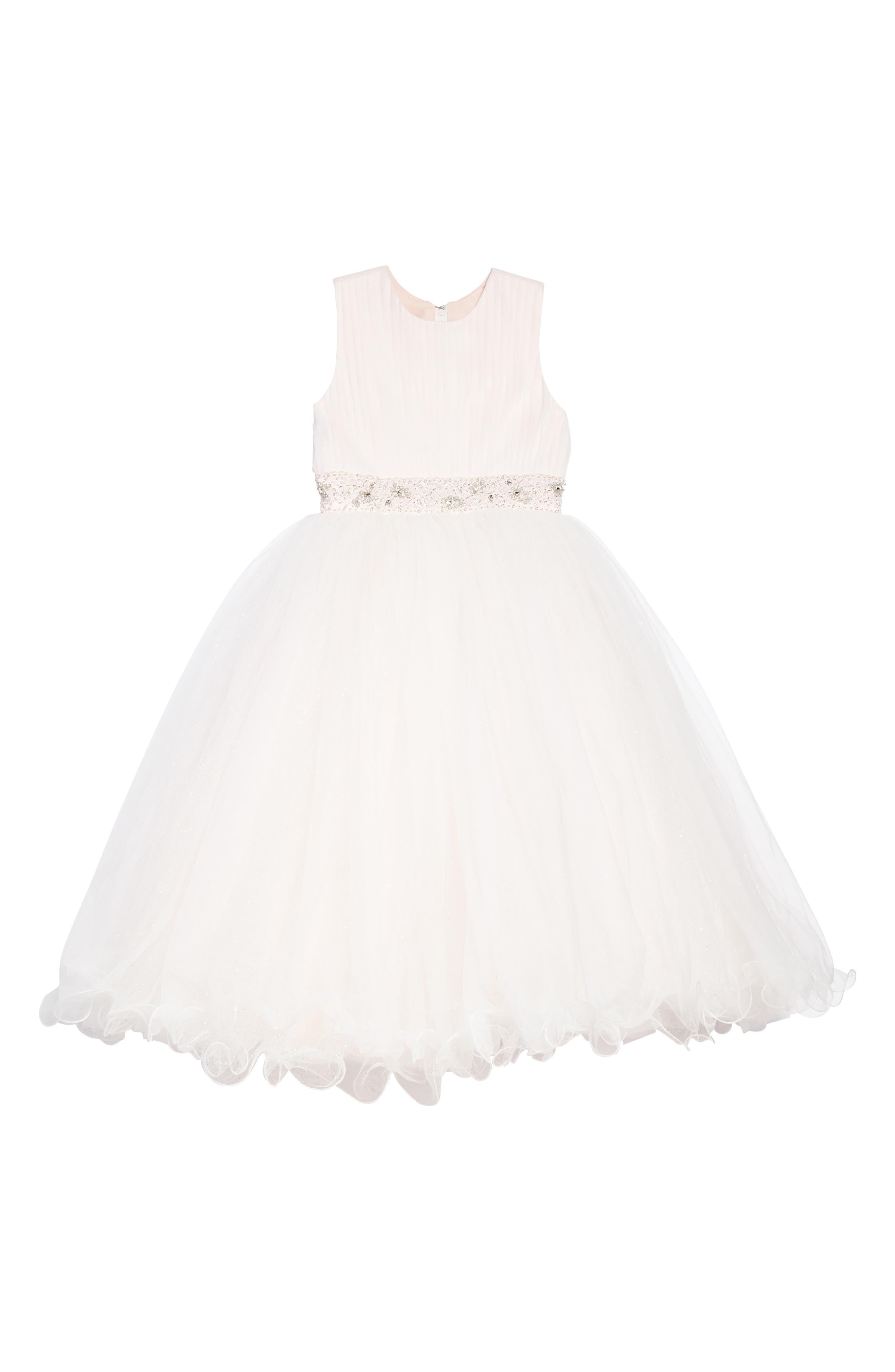 Joan Calabrese for Mon Cheri Beaded Satin & Tulle First Communion Dress (Toddler Girls, Little Girls & Big Girls)