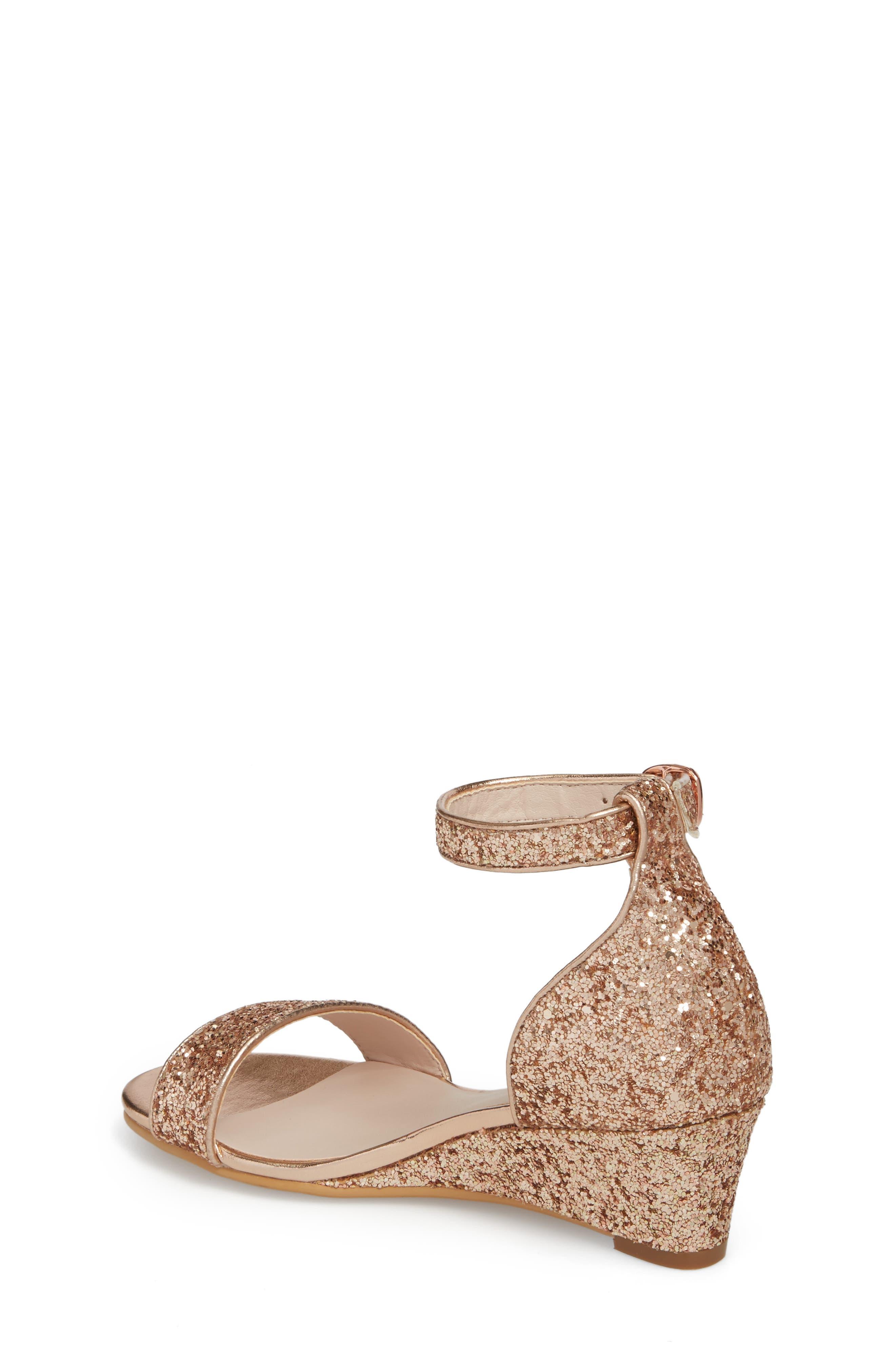 Remi Wedge Sandal,                             Alternate thumbnail 2, color,                             Rose Gold Glitter