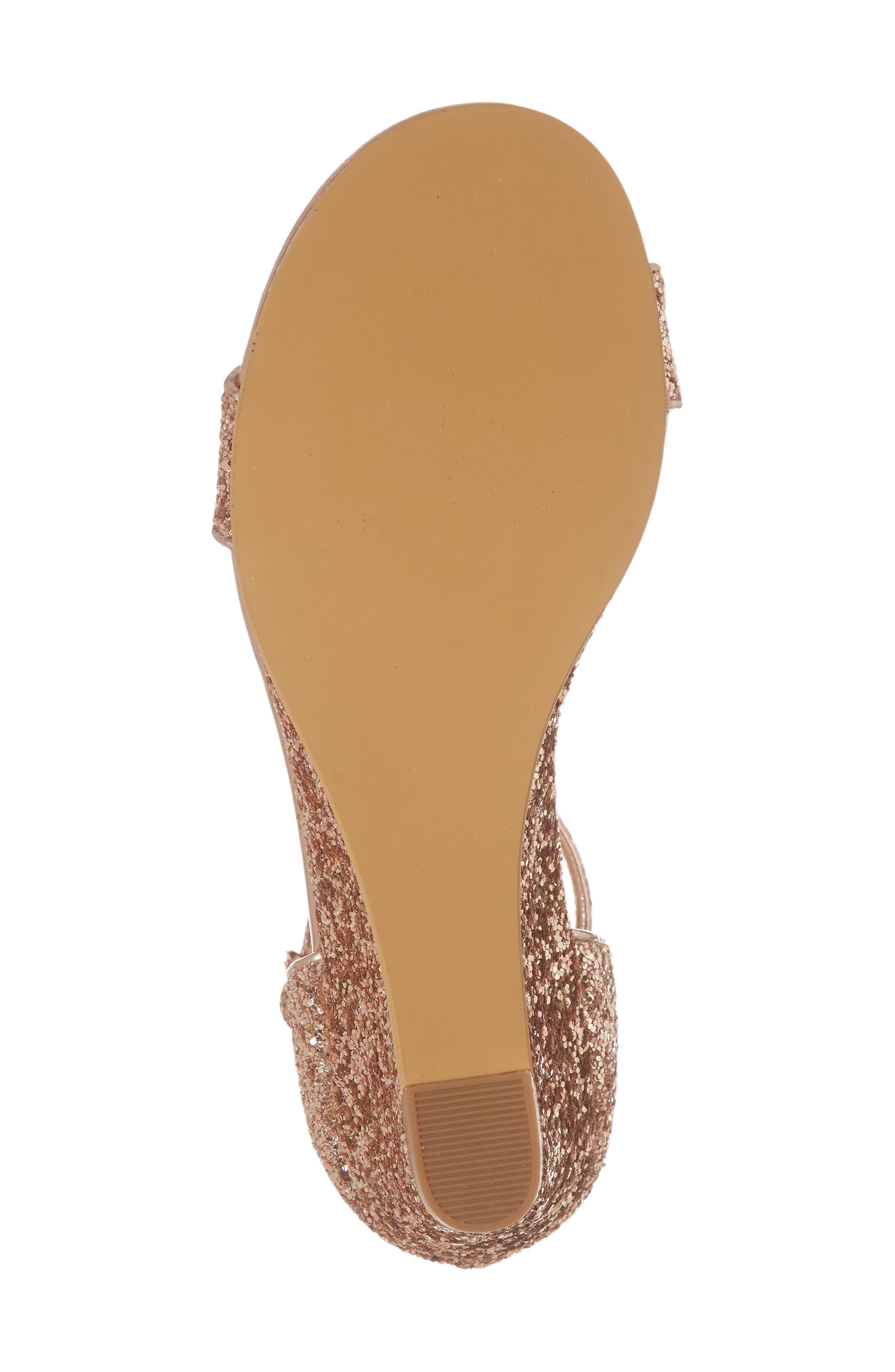 Remi Wedge Sandal,                             Alternate thumbnail 6, color,                             Rose Gold Glitter
