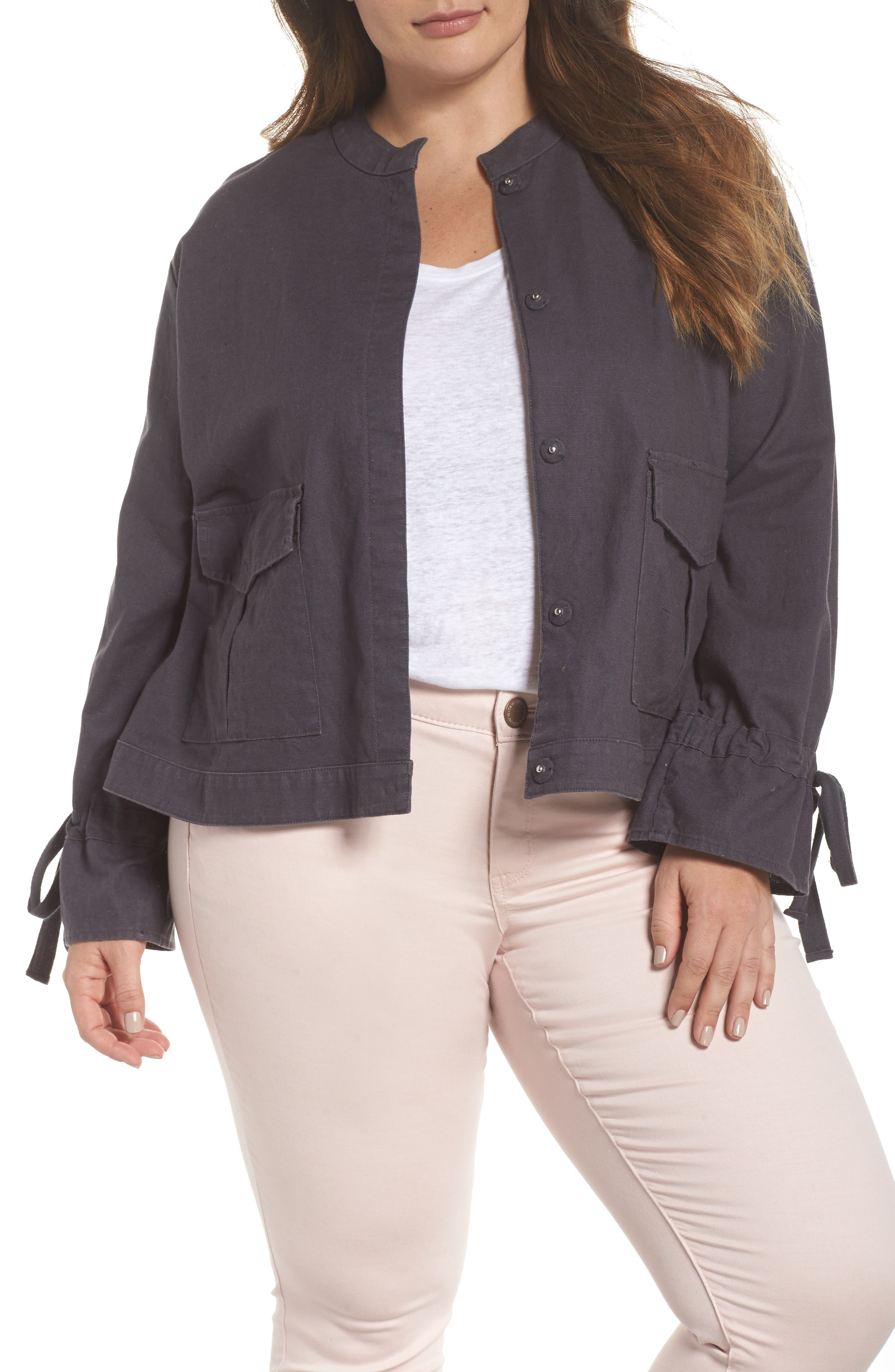 Tie Sleeve Utility Jacket,                             Main thumbnail 1, color,                             Grey Ebony