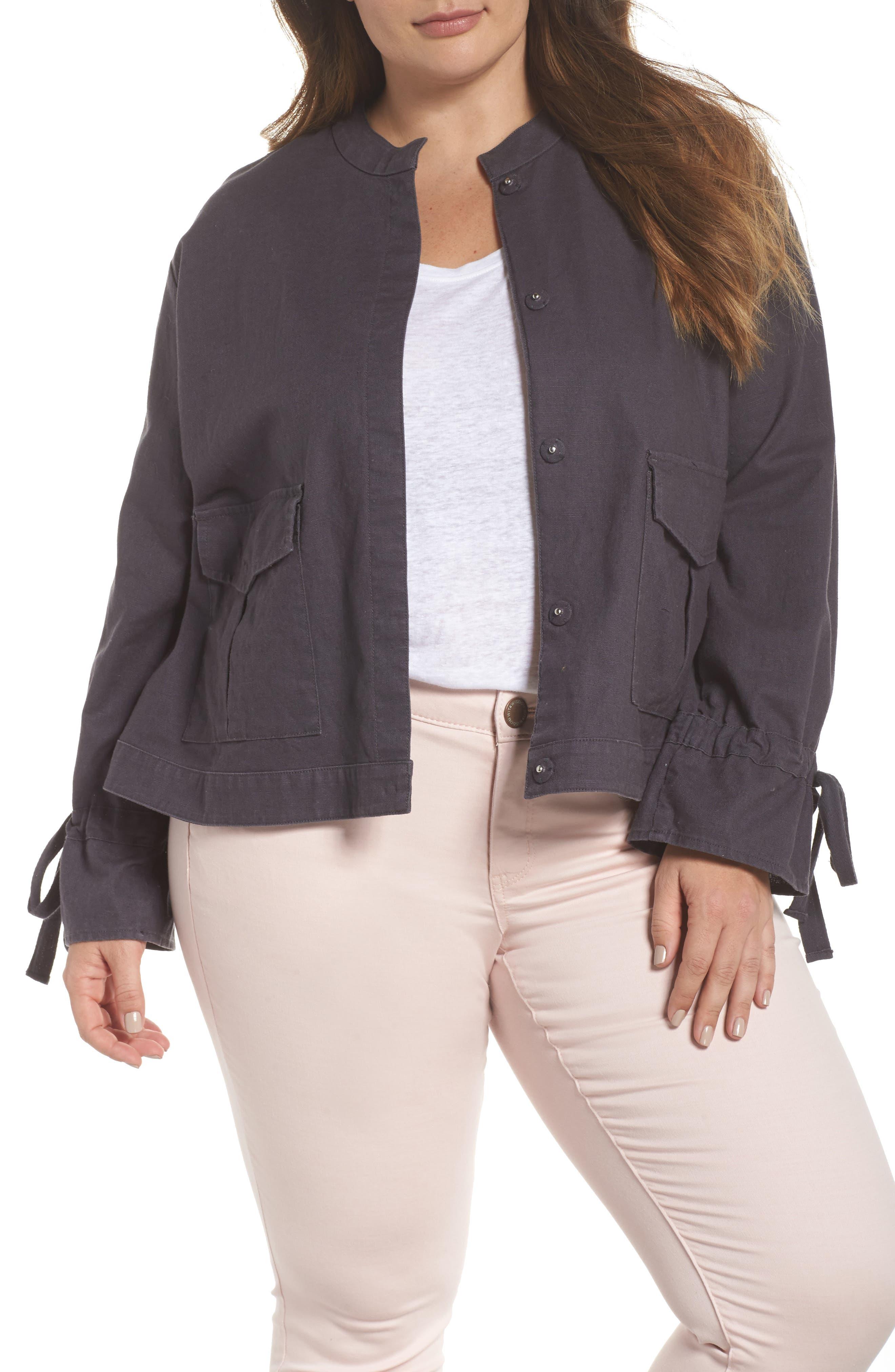 Tie Sleeve Utility Jacket,                         Main,                         color, Grey Ebony