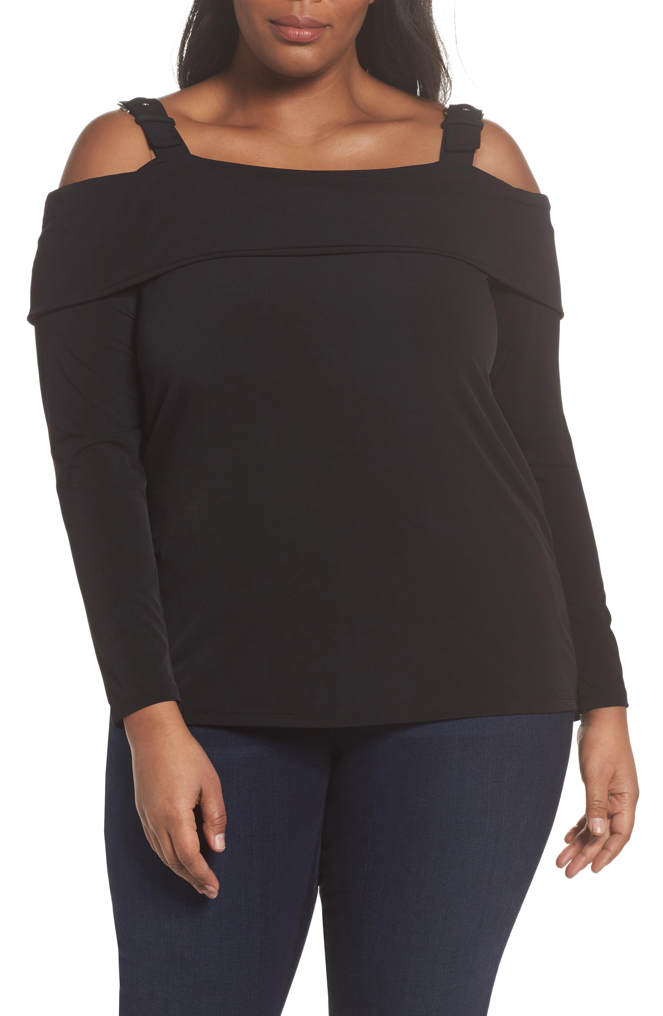 MICHAEL Michael Kors Buckle Strap Off the Shoulder Top (Plus Size)