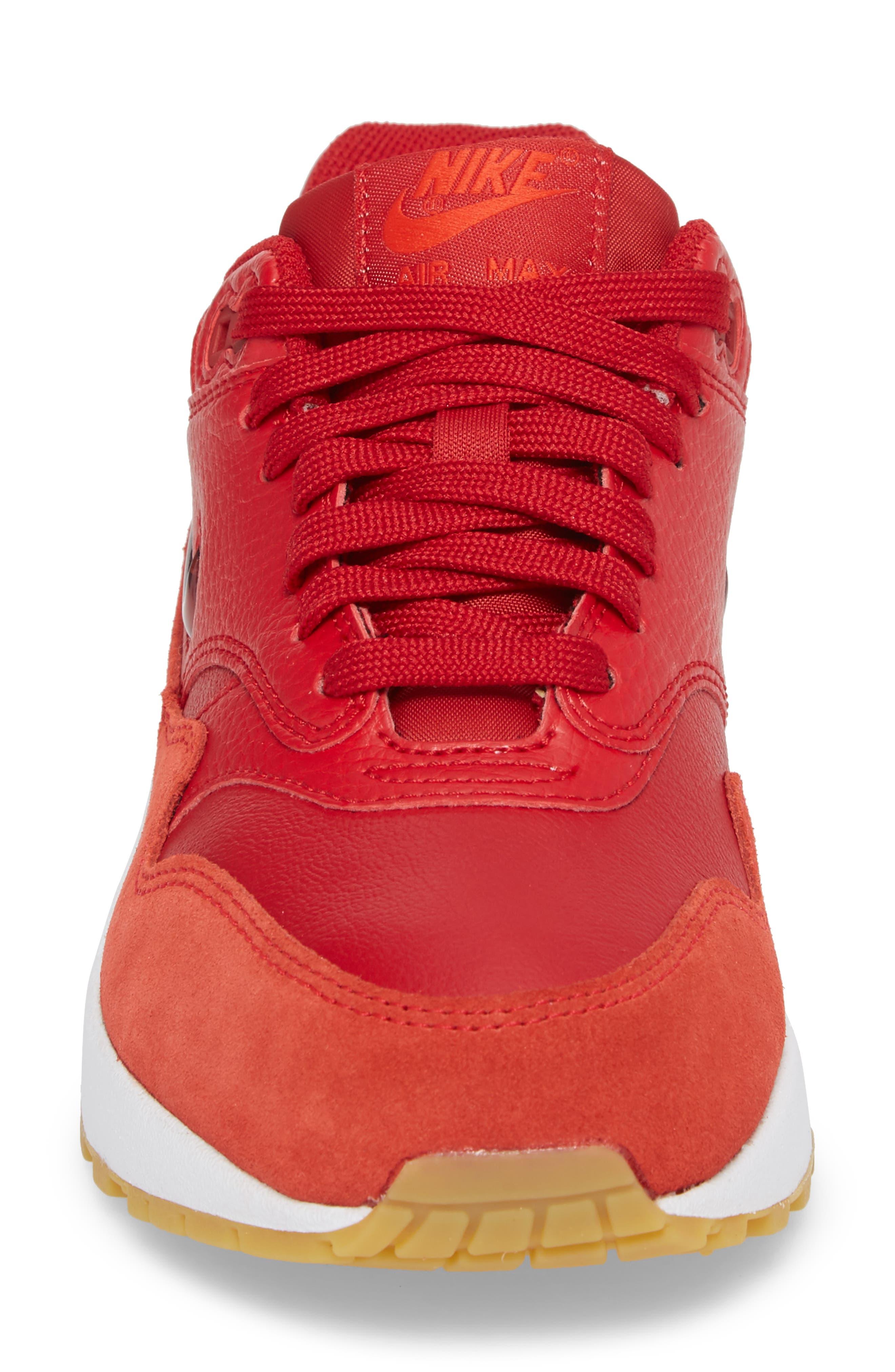 Air Max 1 Premium SC Sneaker,                             Alternate thumbnail 4, color,                             Gym Red/ Gym Red