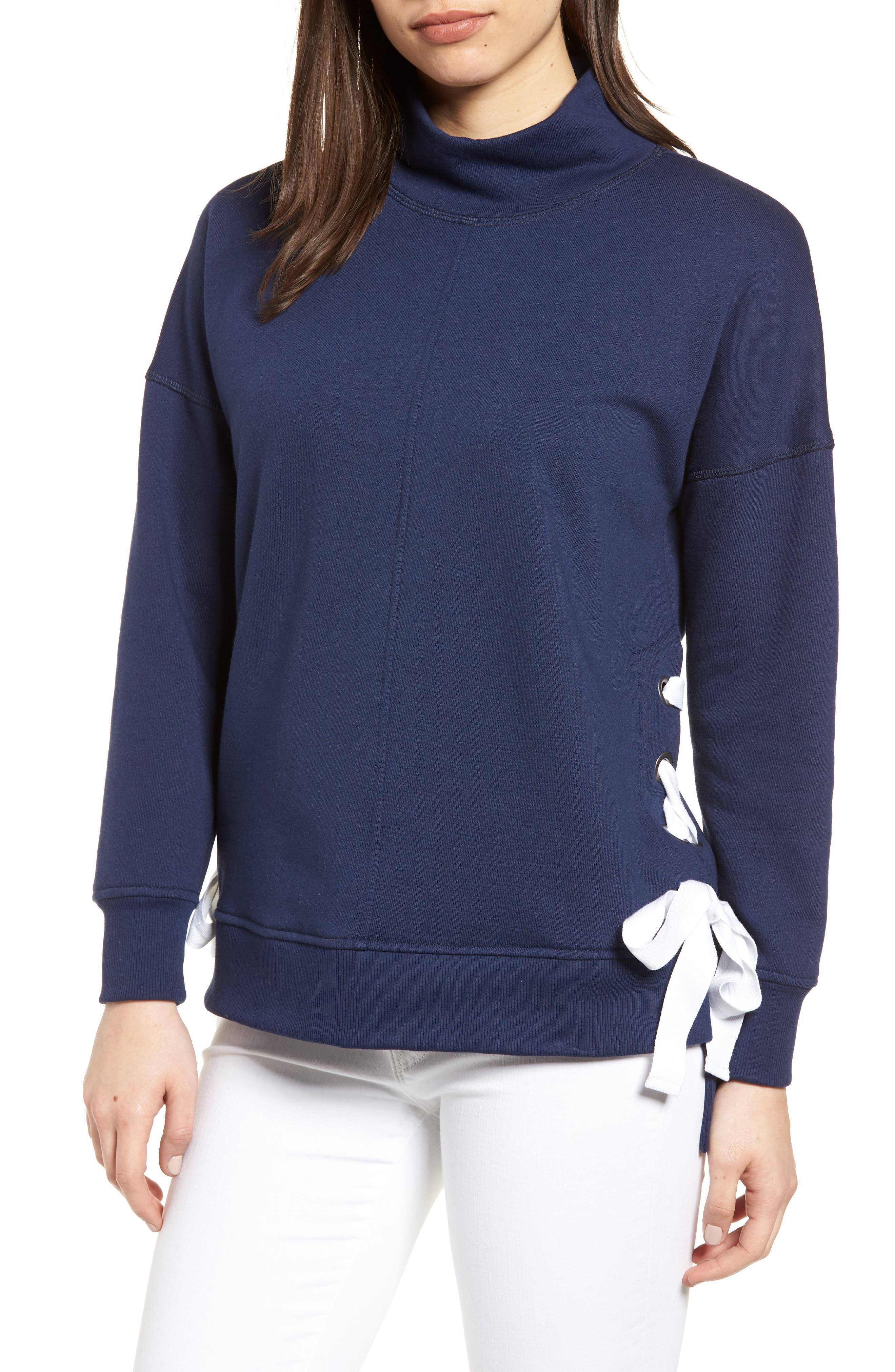 Gibson Side Tie High Neck Sweatshirt (Regular & Petite)