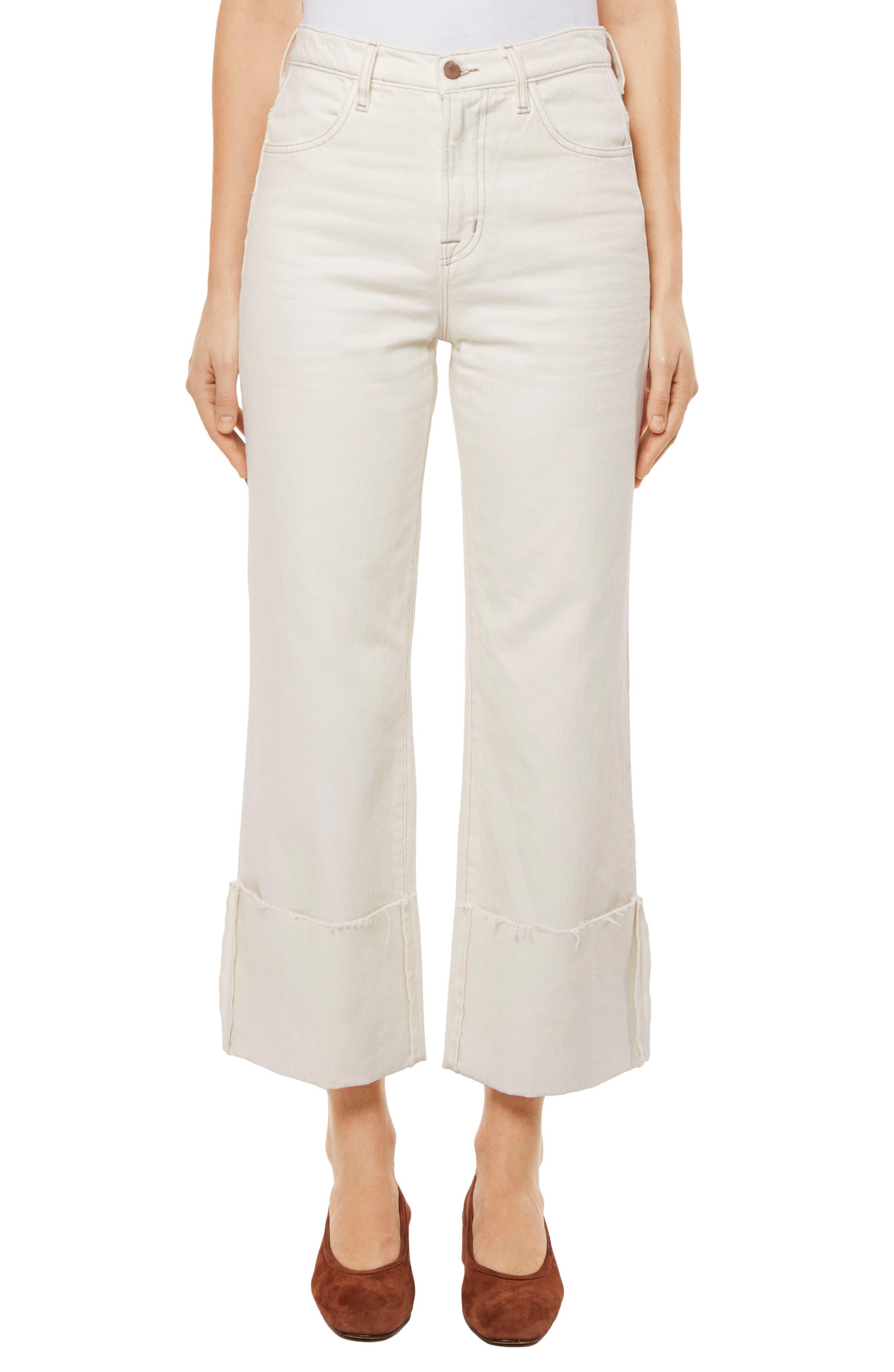 Joan High Waist Crop Wide Leg Jeans,                             Main thumbnail 1, color,                             Macadamia