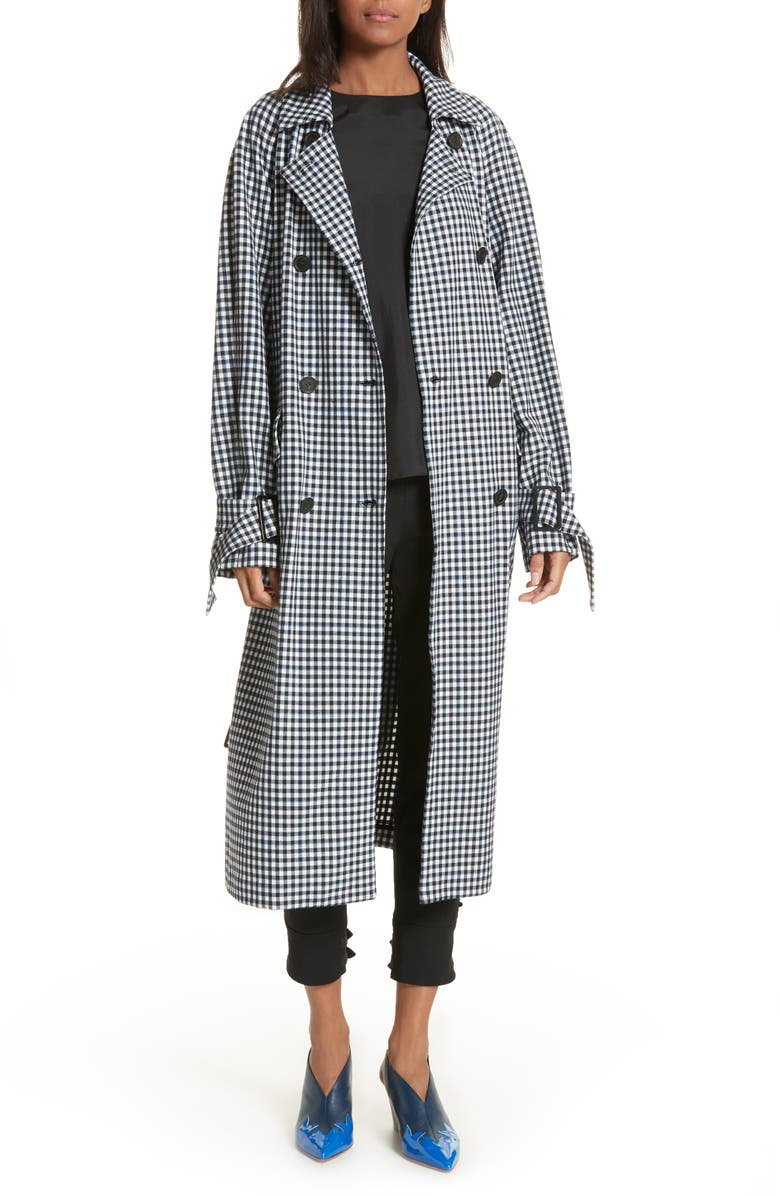 Gingham Suiting Trench Coat