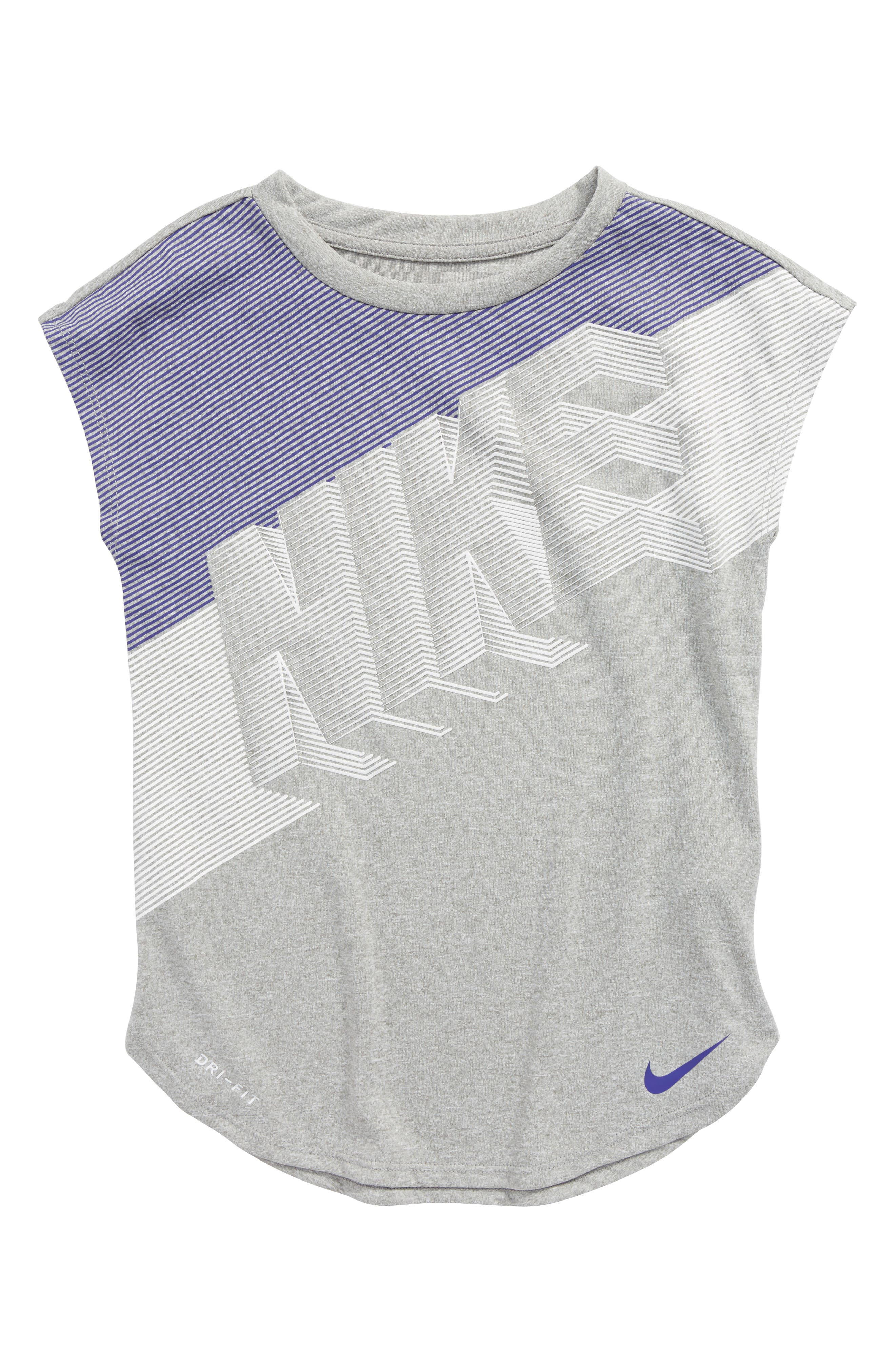 Alternate Image 1 Selected - Nike Faust Block Logo Dry Tee (Toddler Girls & Little Girls)
