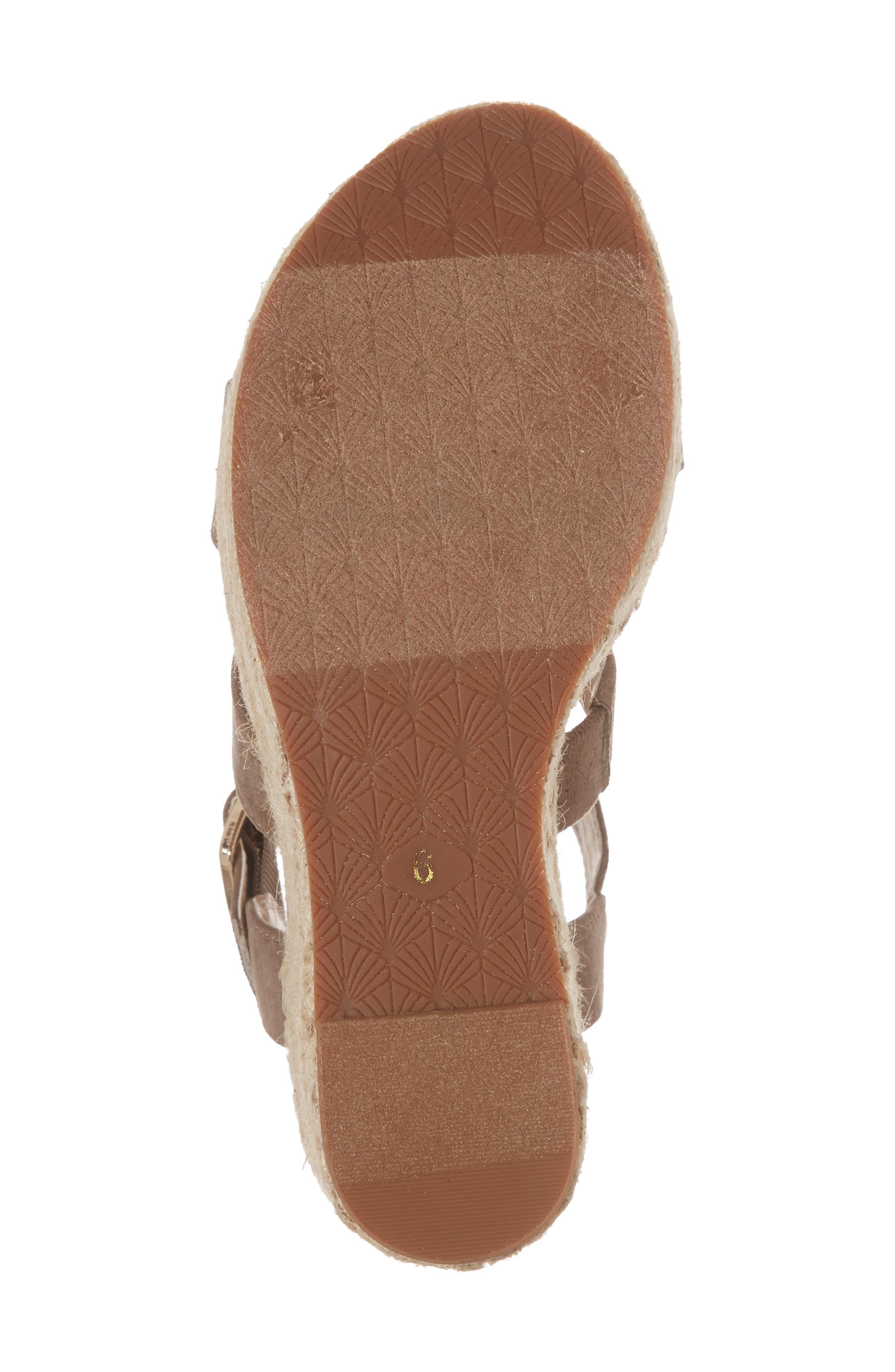 Snack Bar Espadrille Wedge Sandal,                             Alternate thumbnail 6, color,                             Taupe Suede