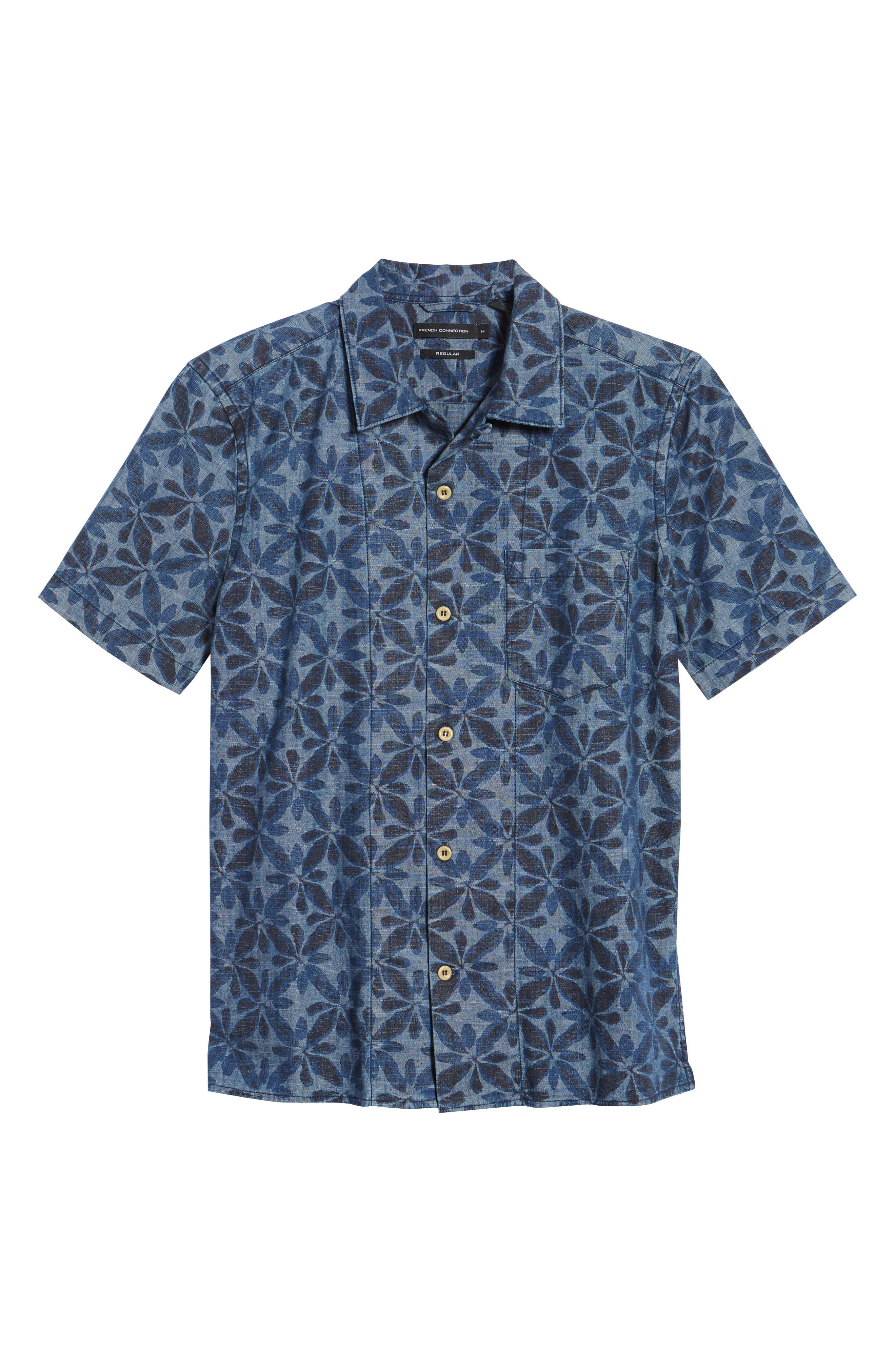 Franju Floral Slim Fit Woven Shirt,                             Alternate thumbnail 6, color,                             Rinse And Softener