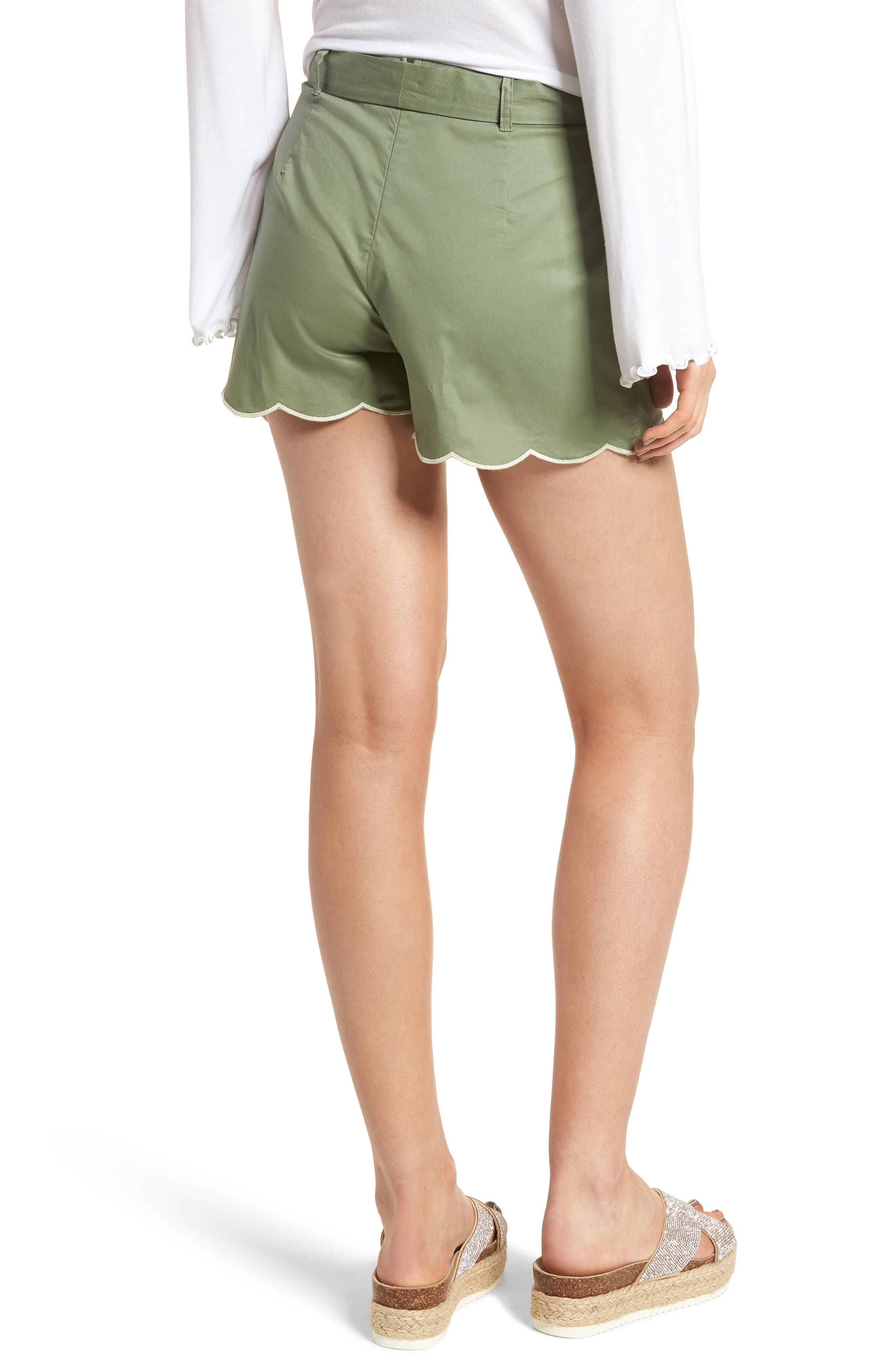 Tie Waist Scallop Hem Shorts,                             Alternate thumbnail 2, color,                             Green Bronze