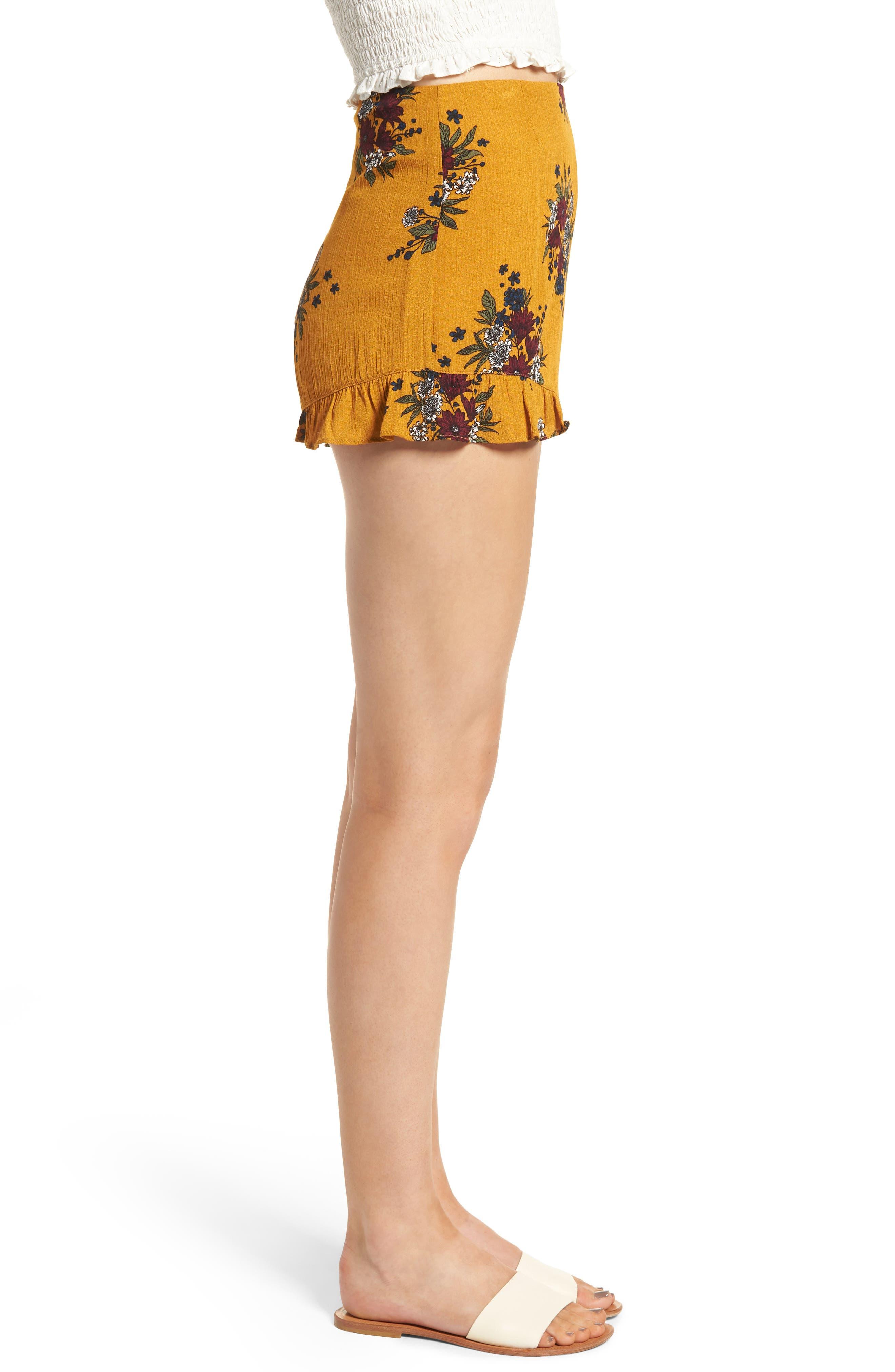 Theia Floral Ruffle Hem Shorts,                             Alternate thumbnail 3, color,                             Honey