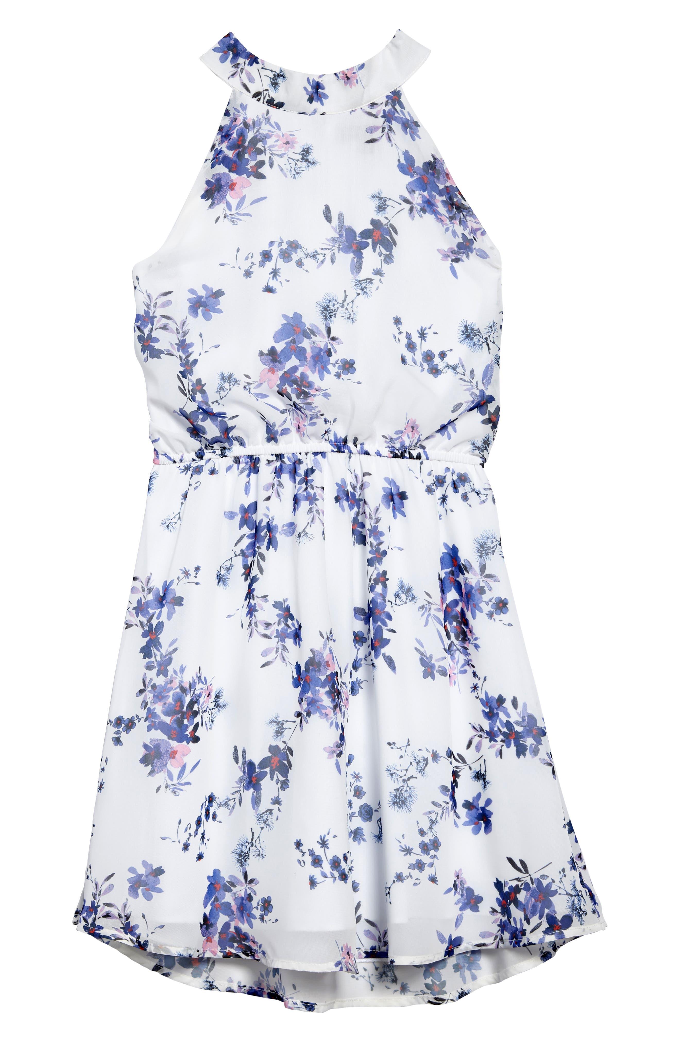 Alternate Image 1 Selected - Ava & Yelly Floral Mock Neck Dress (Big Girls)