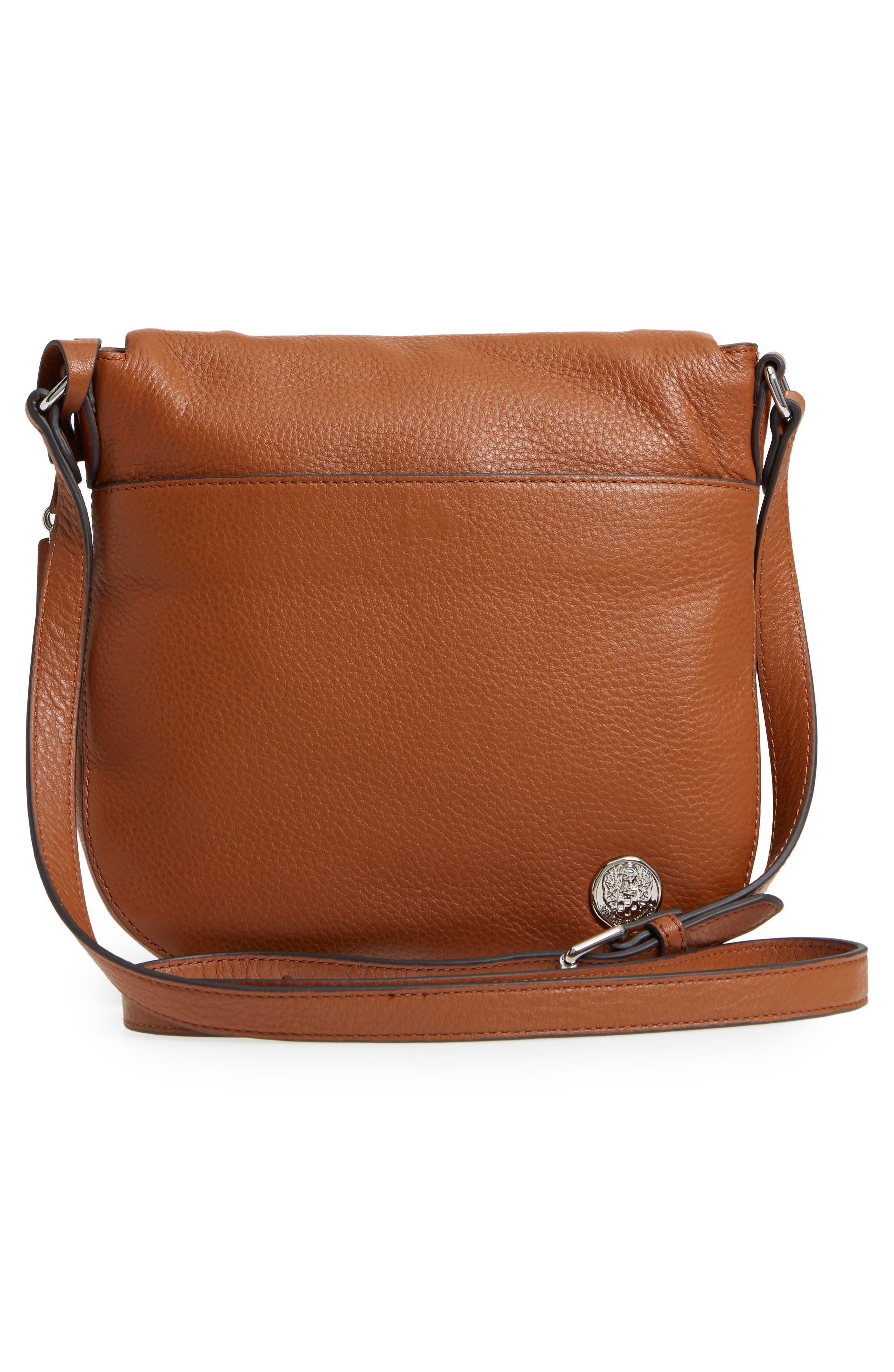 'Tala' Leather Crossbody Bag,                             Alternate thumbnail 3, color,                             Dark Rum