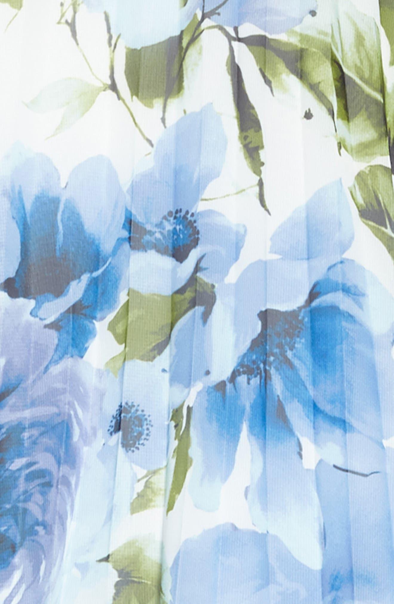 Crystal Pleat Floral Dress,                             Alternate thumbnail 3, color,                             Blue