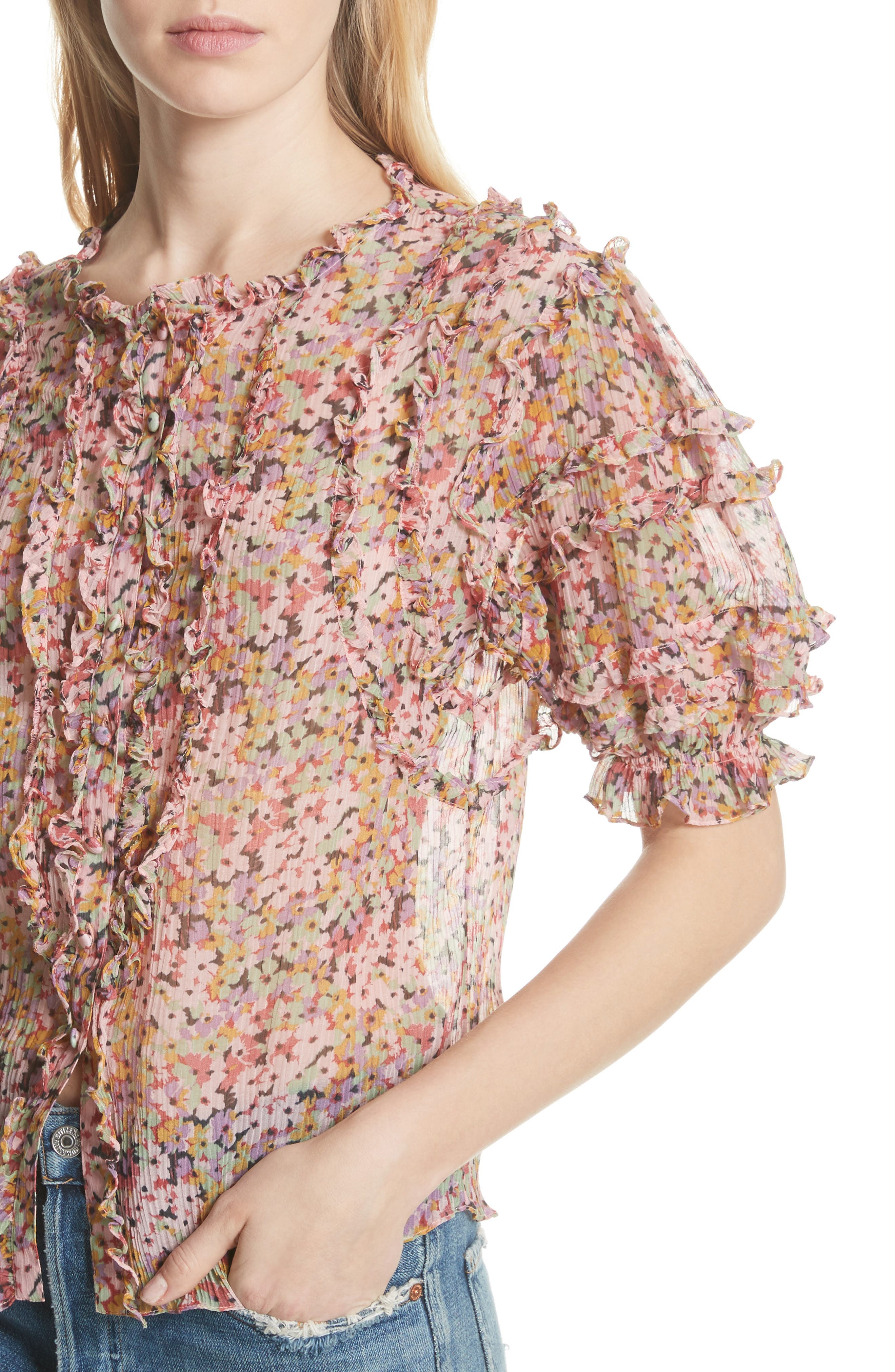 Margo Ruffle Floral Top,                             Alternate thumbnail 4, color,                             Multi Combo
