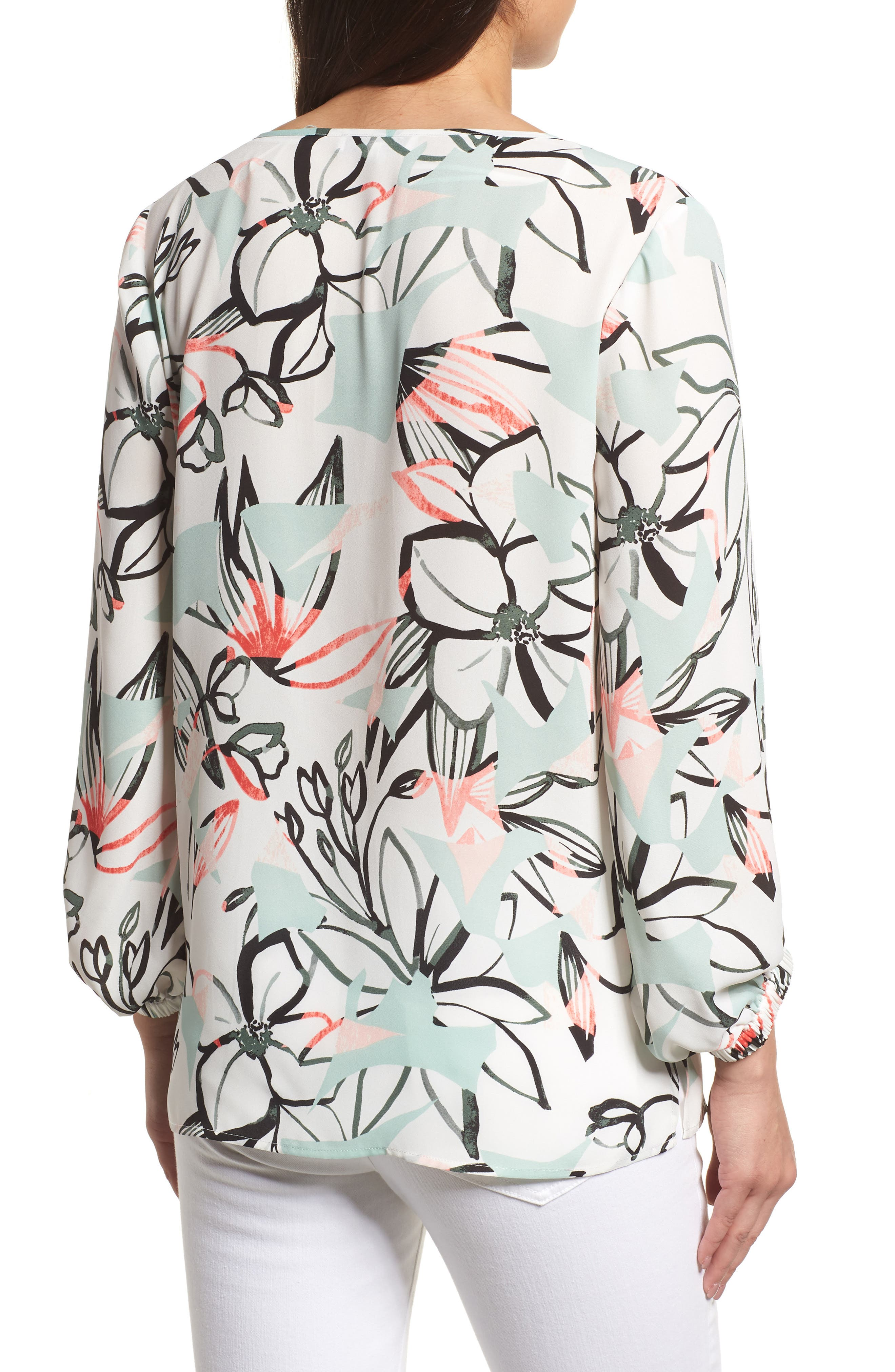 Jungle Collage Pintuck Blouse,                             Alternate thumbnail 2, color,                             103-New Ivory