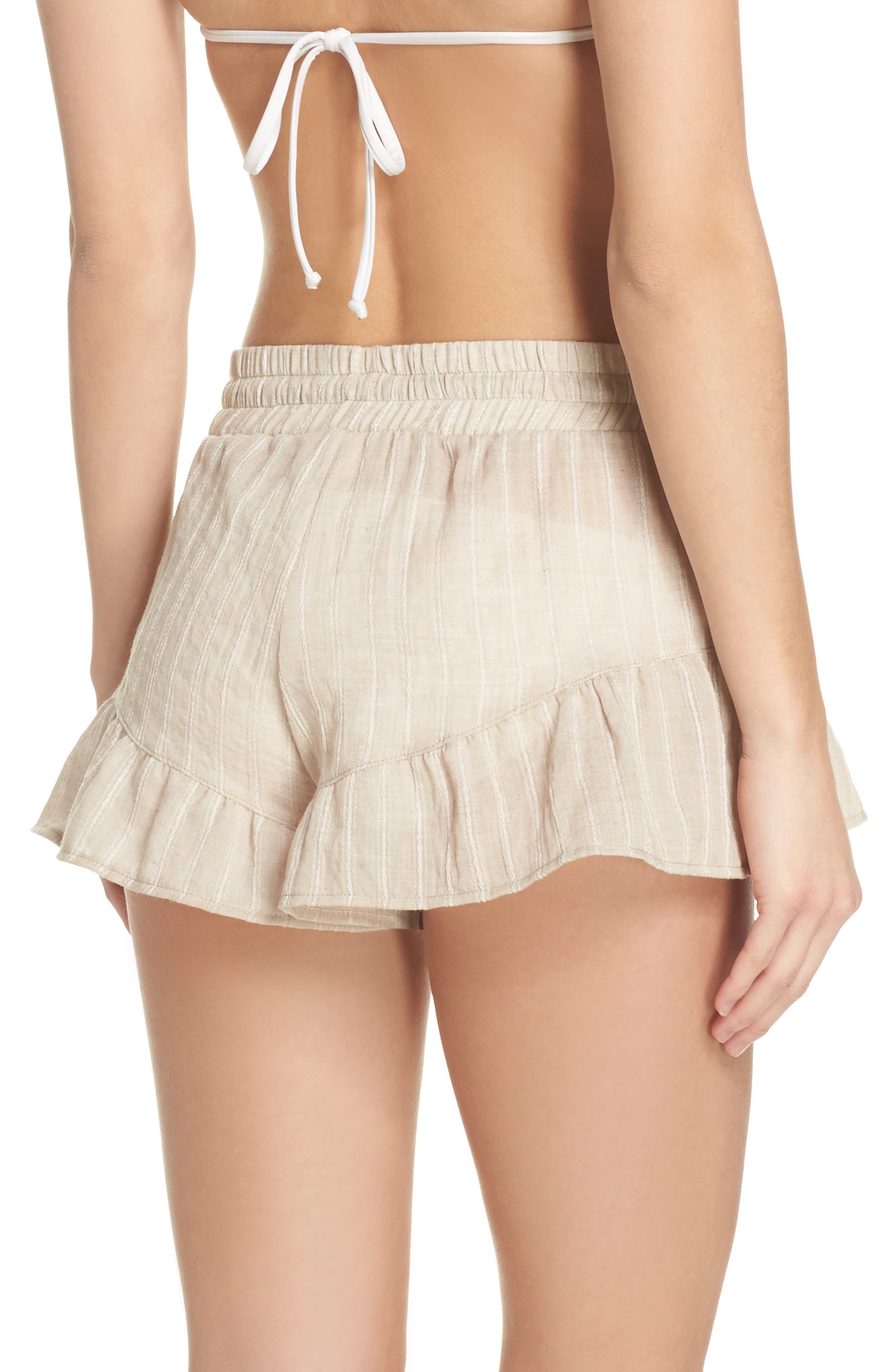 Ruffle Cover-Up Shorts,                             Alternate thumbnail 2, color,                             Tan