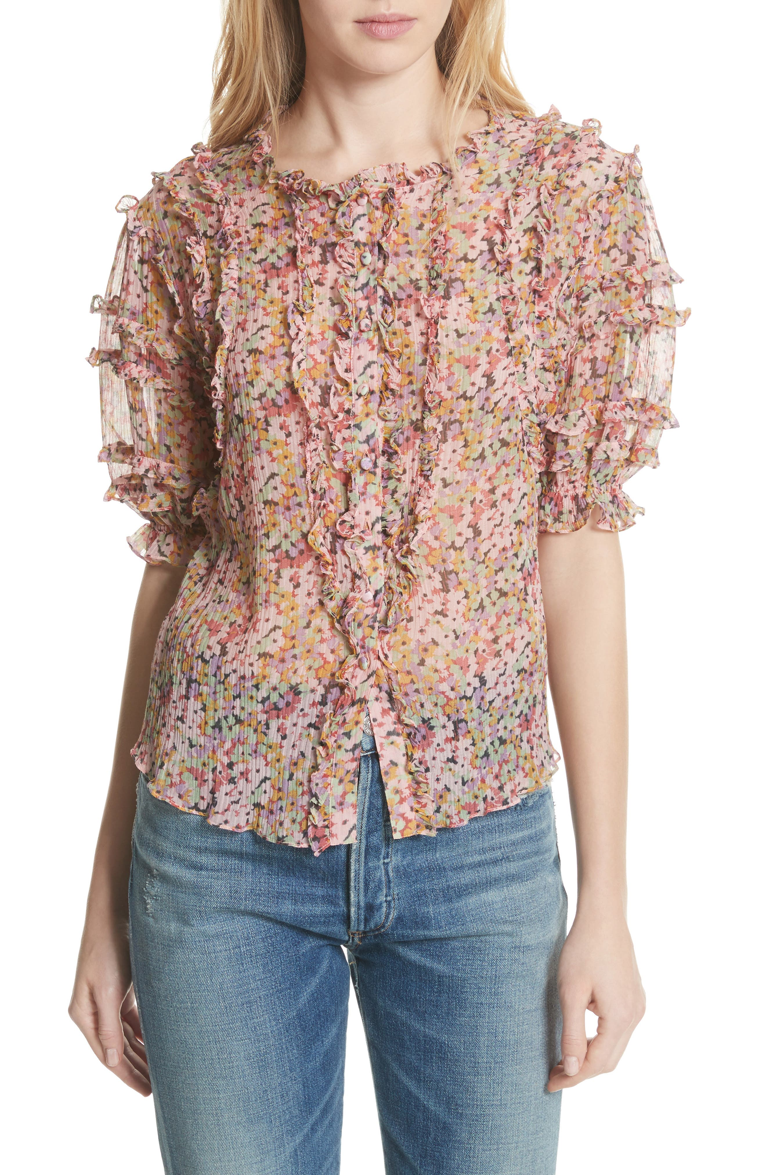 Margo Ruffle Floral Top,                         Main,                         color, Multi Combo