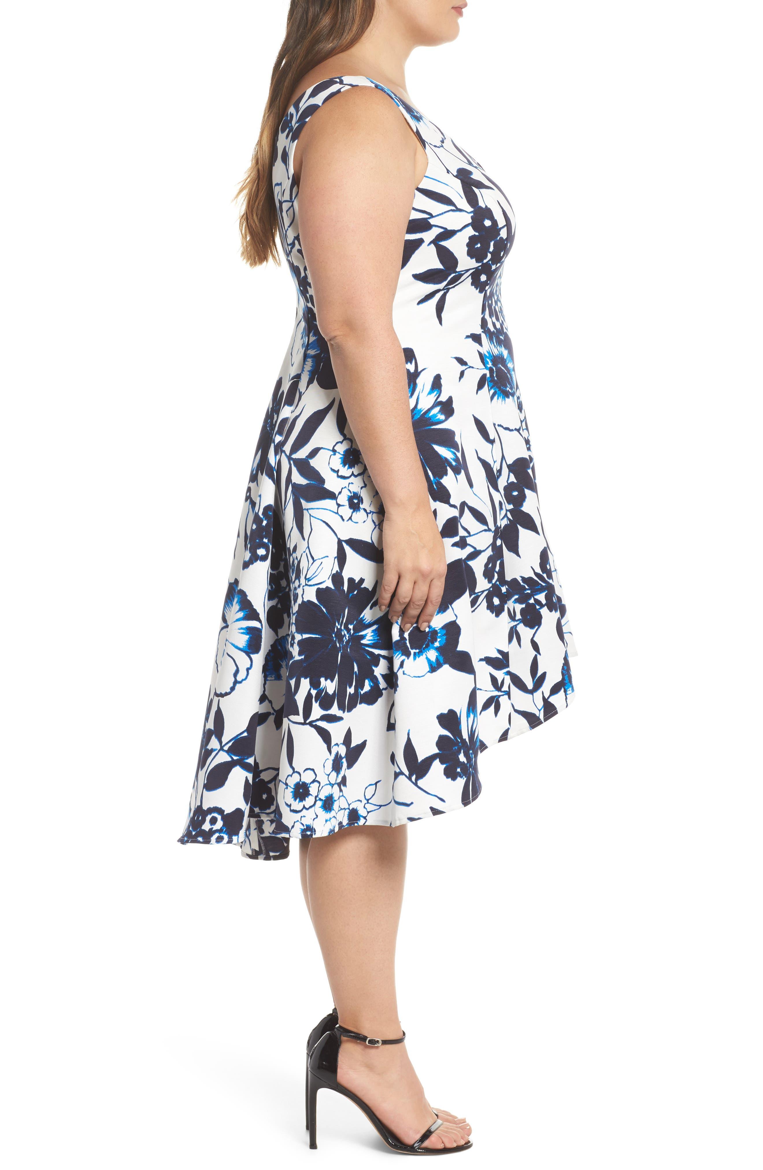Asymmetric Hem Fit & Flare Dress,                             Alternate thumbnail 3, color,                             Navy/ Ivory