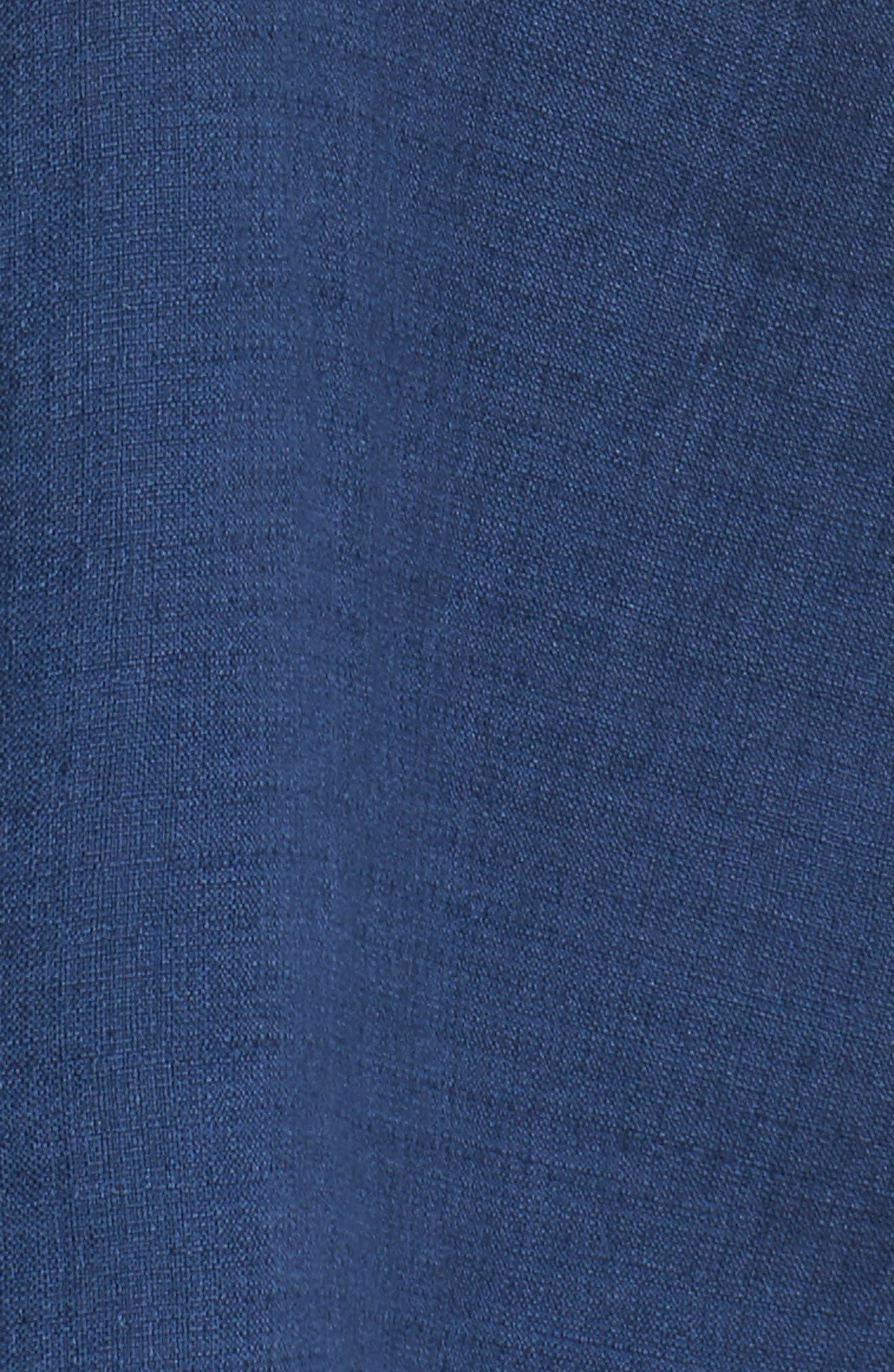 Woven Linen Blend Blouse,                             Alternate thumbnail 5, color,                             Denim