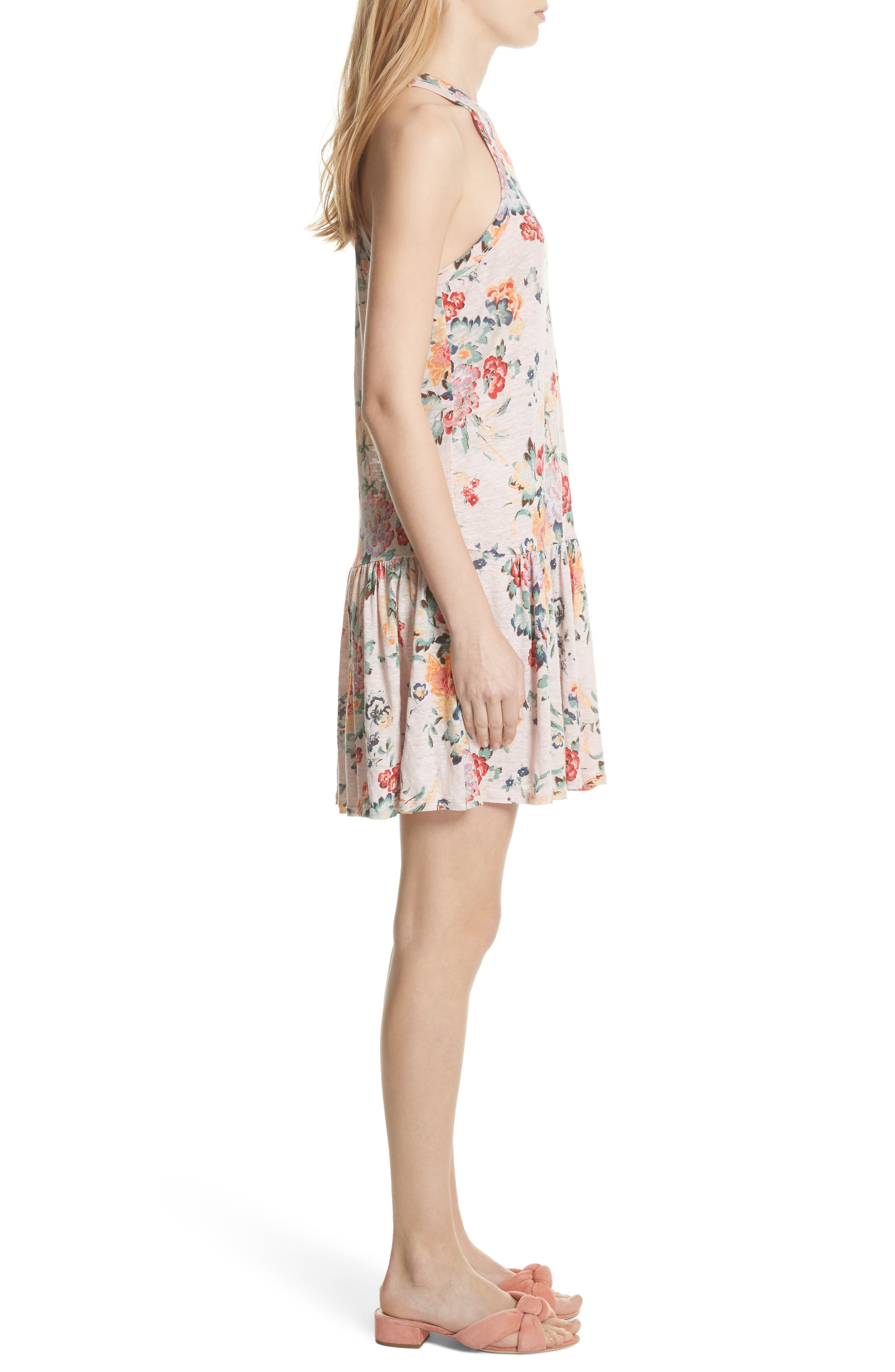 Marlena Floral Jersey Dress,                             Alternate thumbnail 3, color,                             Dusty Rose Combo