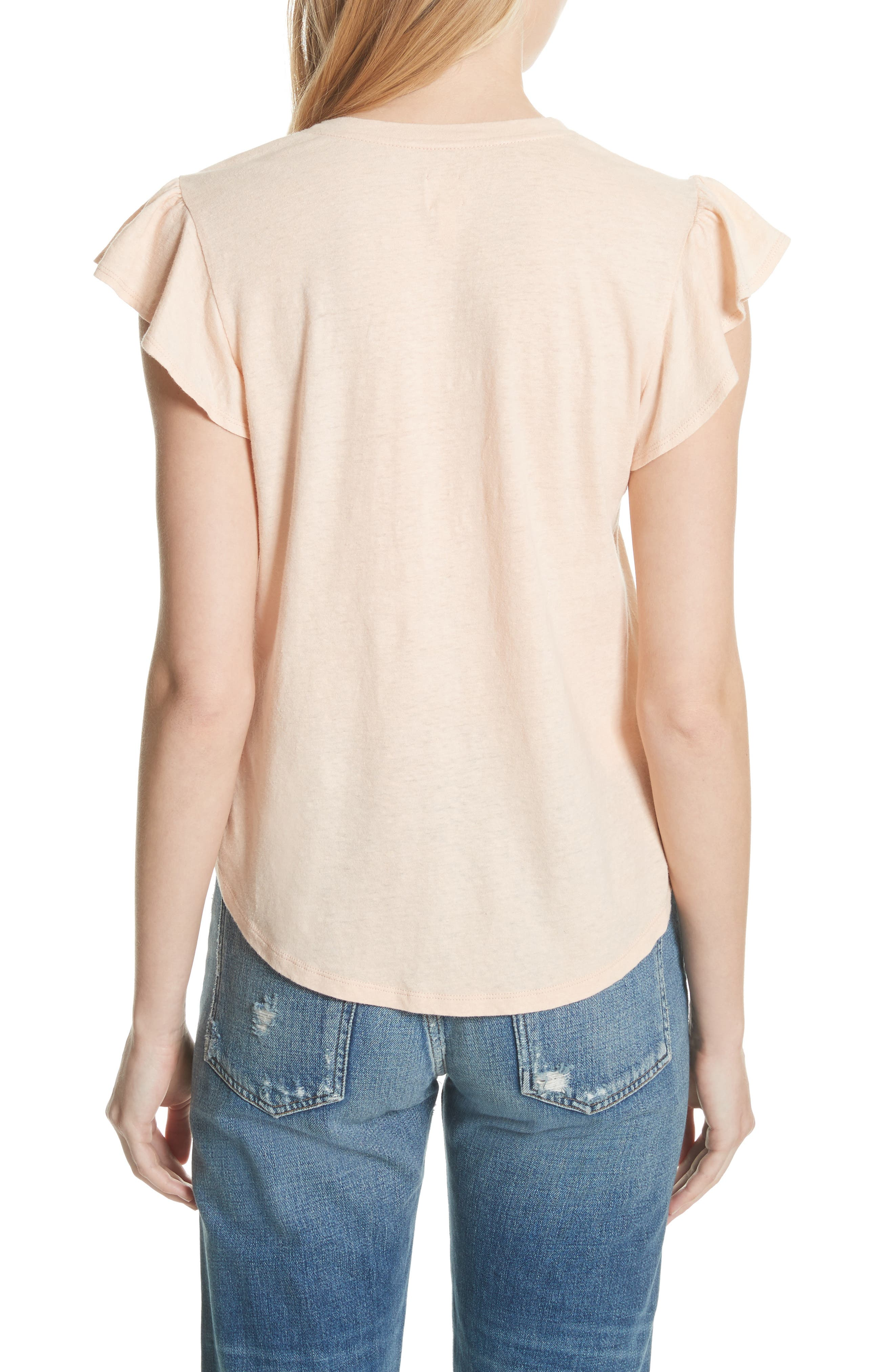 Linen & Cotton Ruffle Sleeve Tee,                             Alternate thumbnail 2, color,                             Rose Cloud