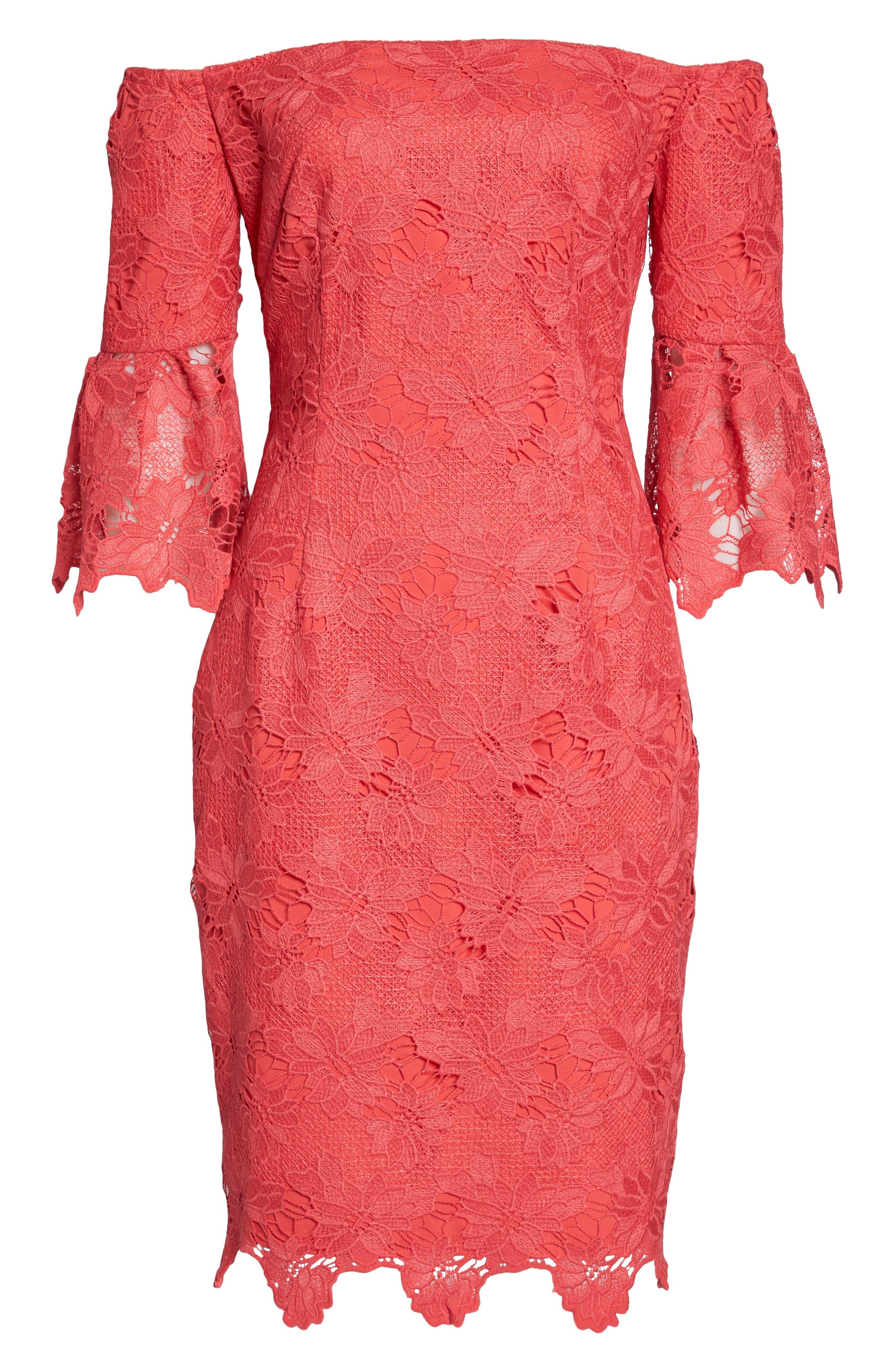 Poppy Off the Shoulder Lace Dress,                             Alternate thumbnail 6, color,                             Poppy