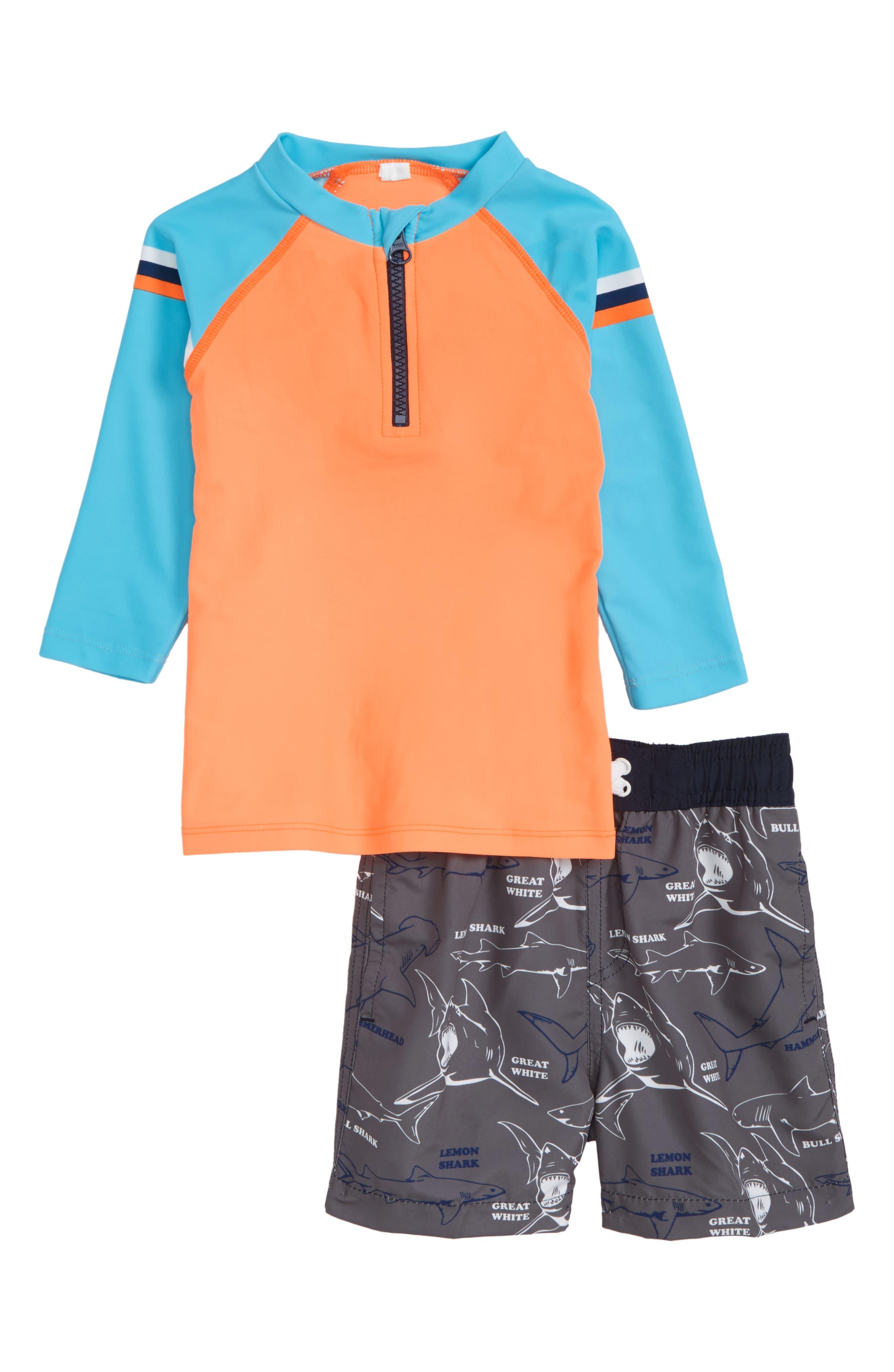 Catch Me if You Can Two-Piece Rashguard Swimsuit,                             Main thumbnail 1, color,                             Orange