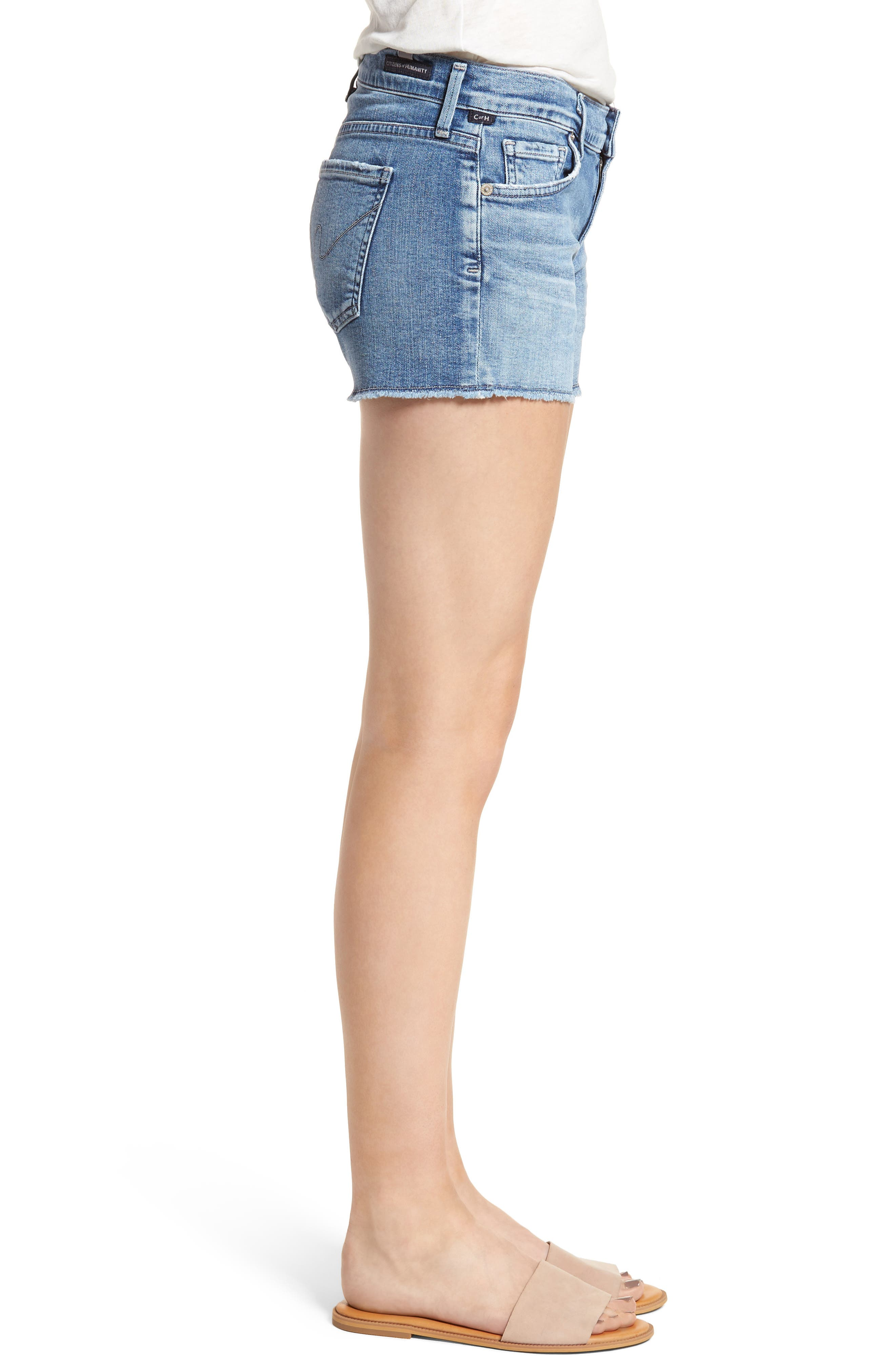 Ava Cutoff Denim Shorts,                             Alternate thumbnail 3, color,                             Pacifica