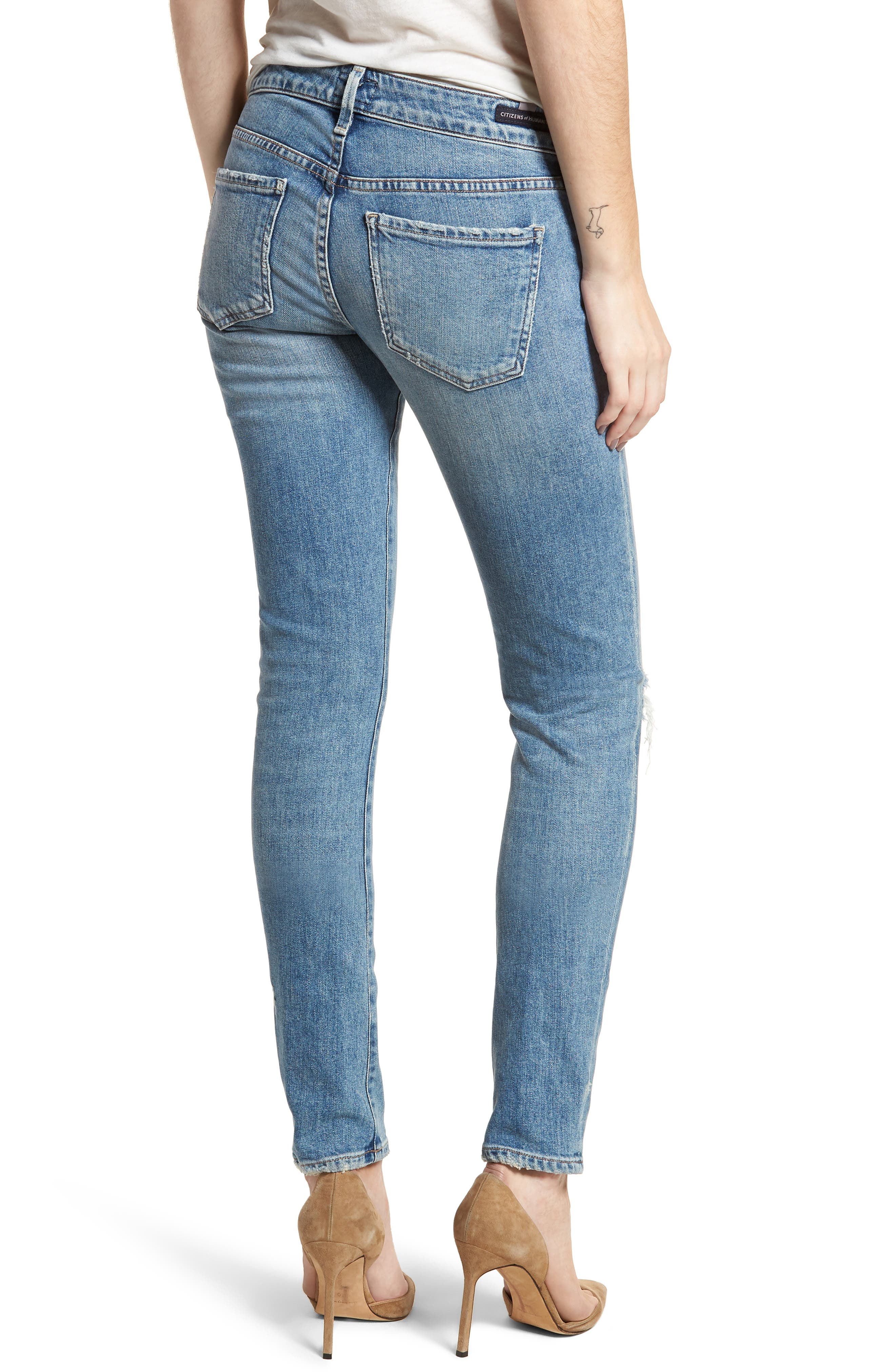 Racer Ripped Skinny Jeans,                             Alternate thumbnail 2, color,                             Distressed Encore