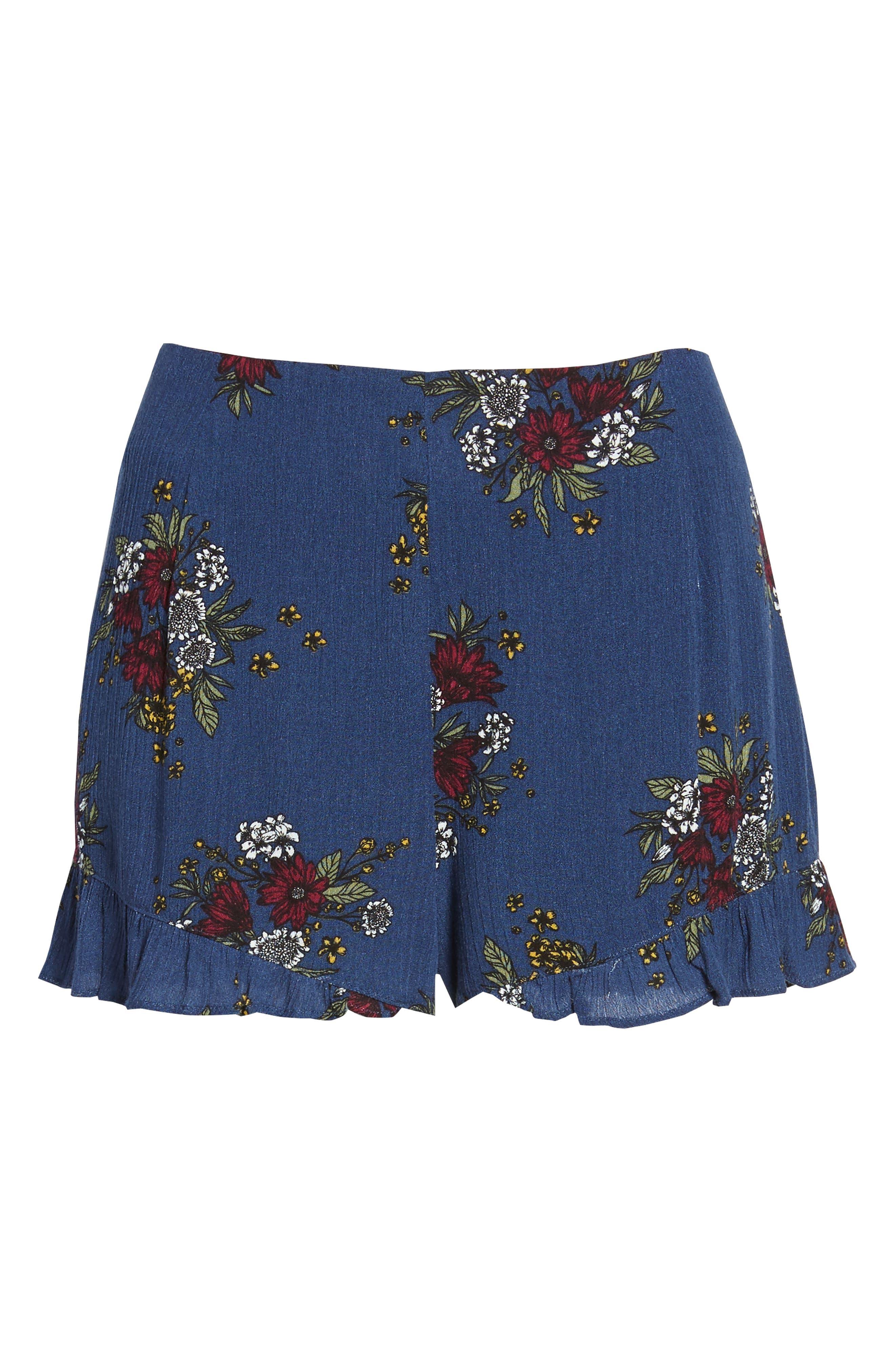 Theia Floral Ruffle Hem Shorts,                             Alternate thumbnail 6, color,                             Navy
