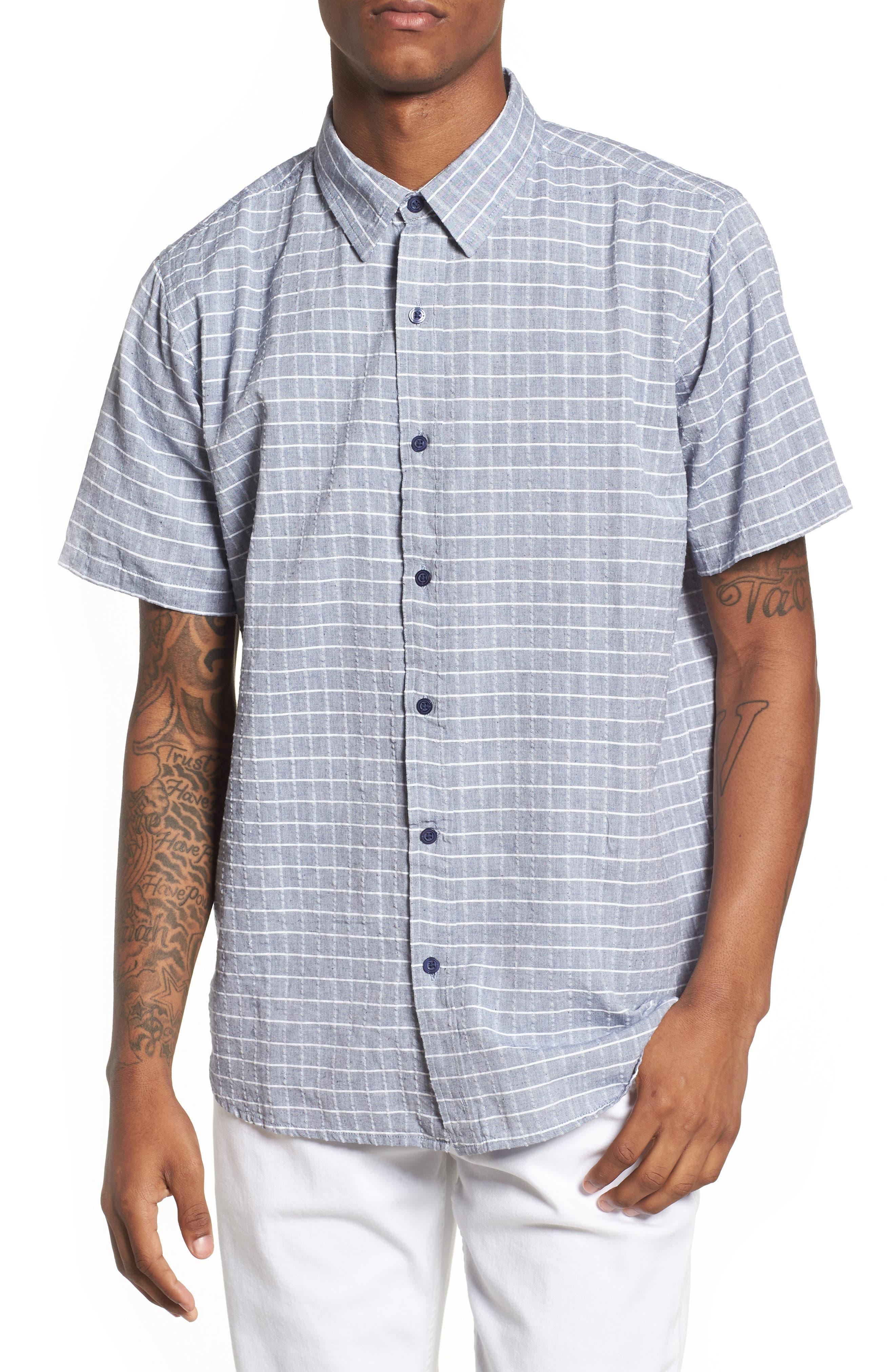 Wesley Woven Shirt,                         Main,                         color, True Blue Stripe