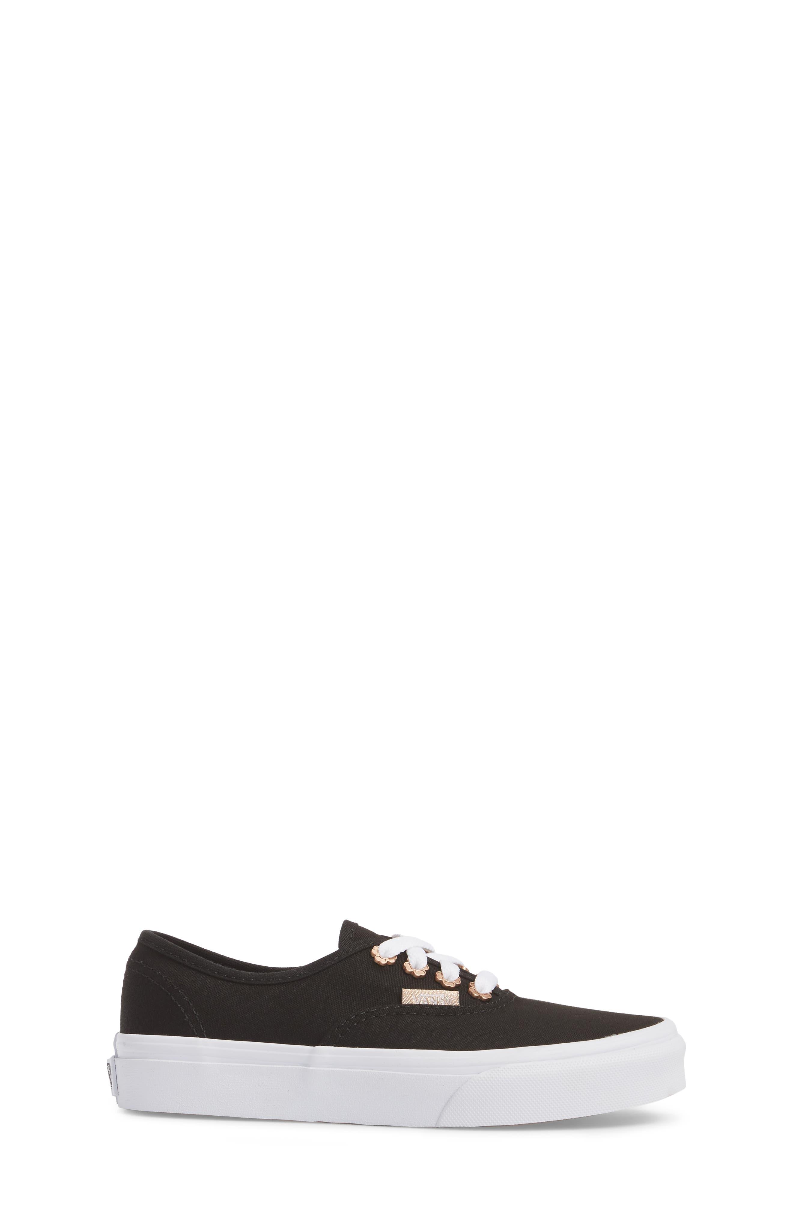 Authentic Sneaker,                             Alternate thumbnail 3, color,                             Black Flower Eyelet