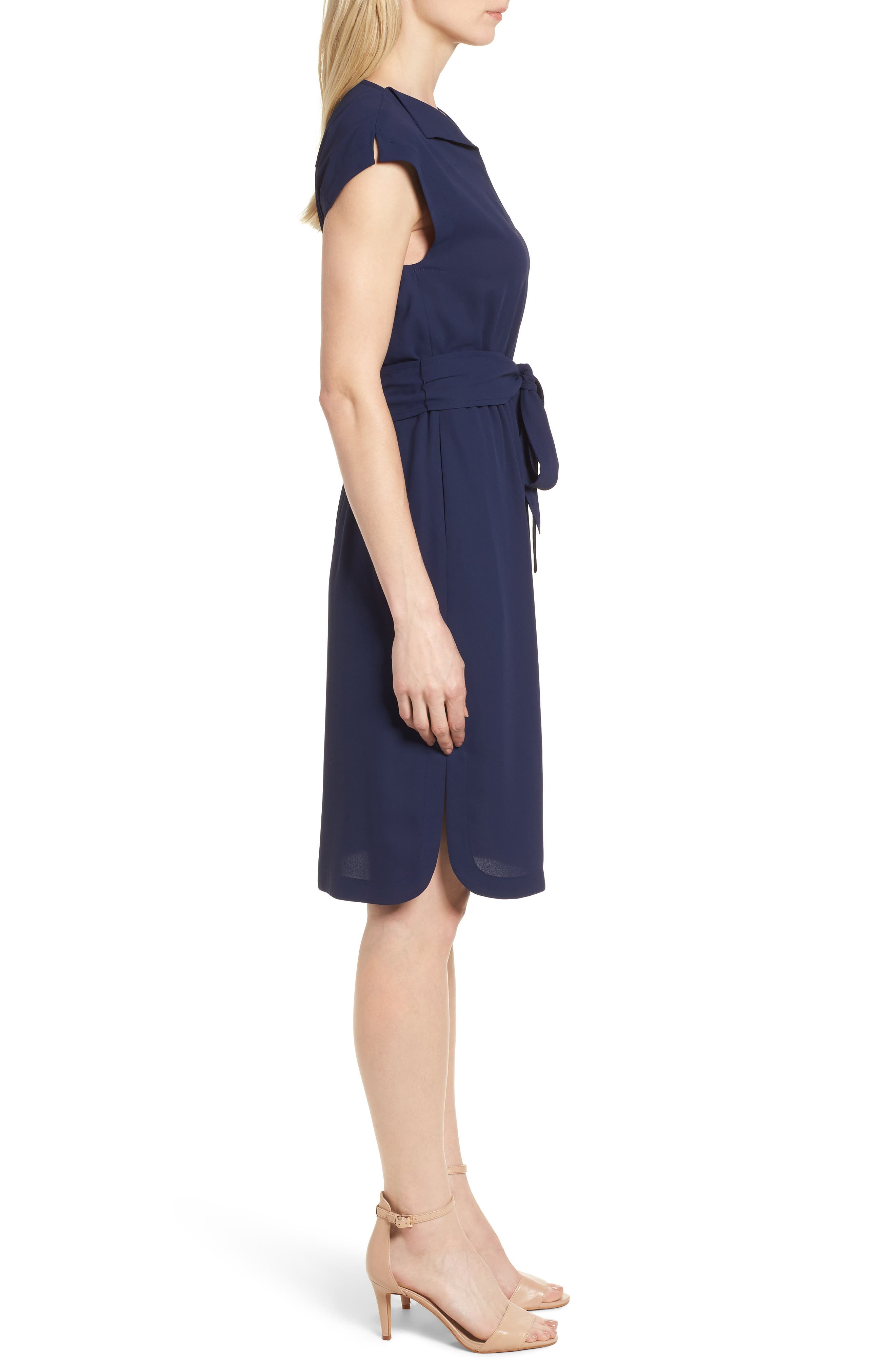 New York Cap Sleeve Shirtdress,                             Alternate thumbnail 3, color,                             Breton Blue