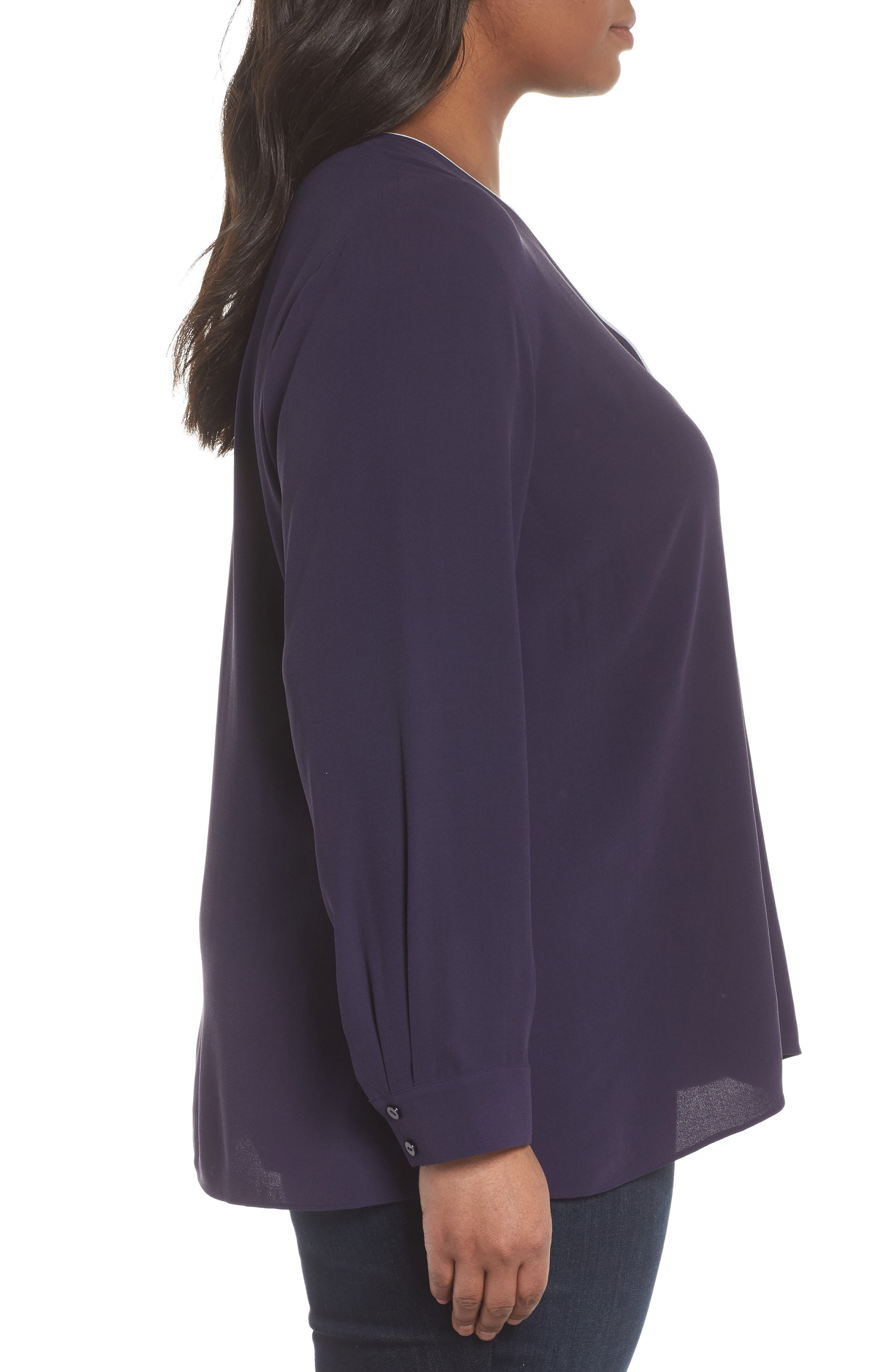 Piping V-Neck Silk Shirt,                             Alternate thumbnail 3, color,                             Salt Lake