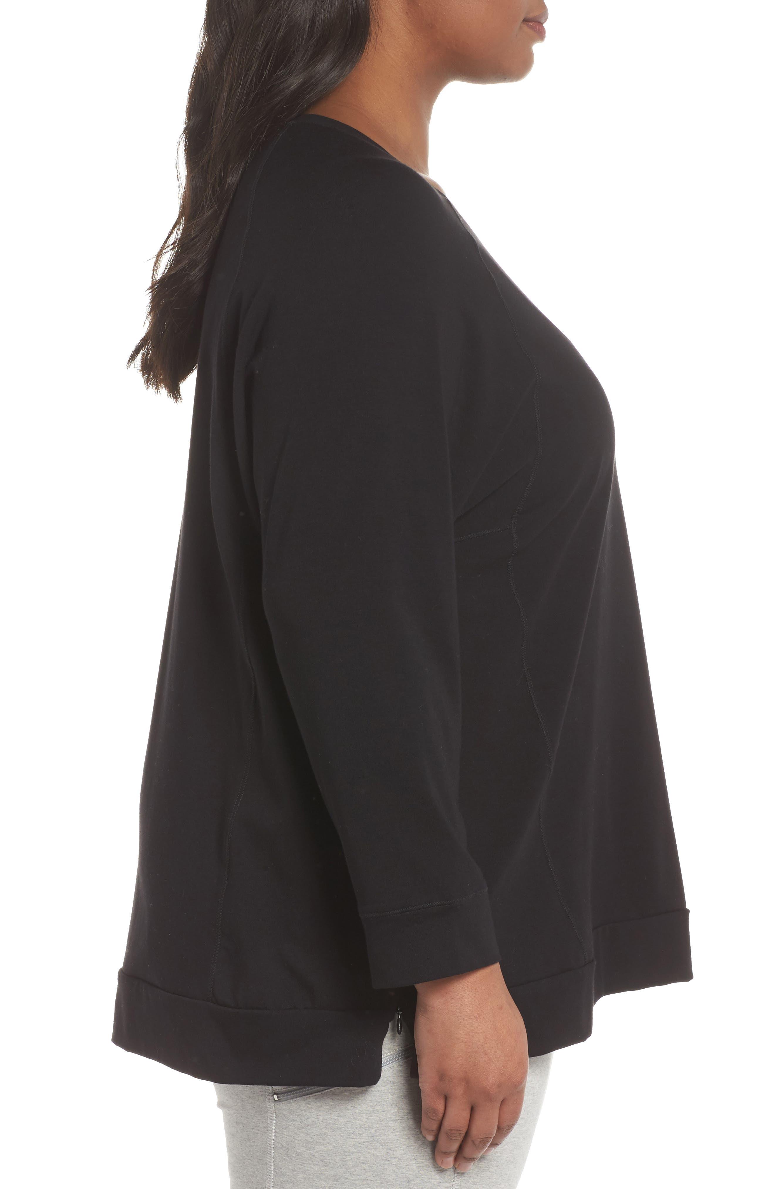 Organic Jersey Side Zip Top,                             Alternate thumbnail 3, color,                             Black