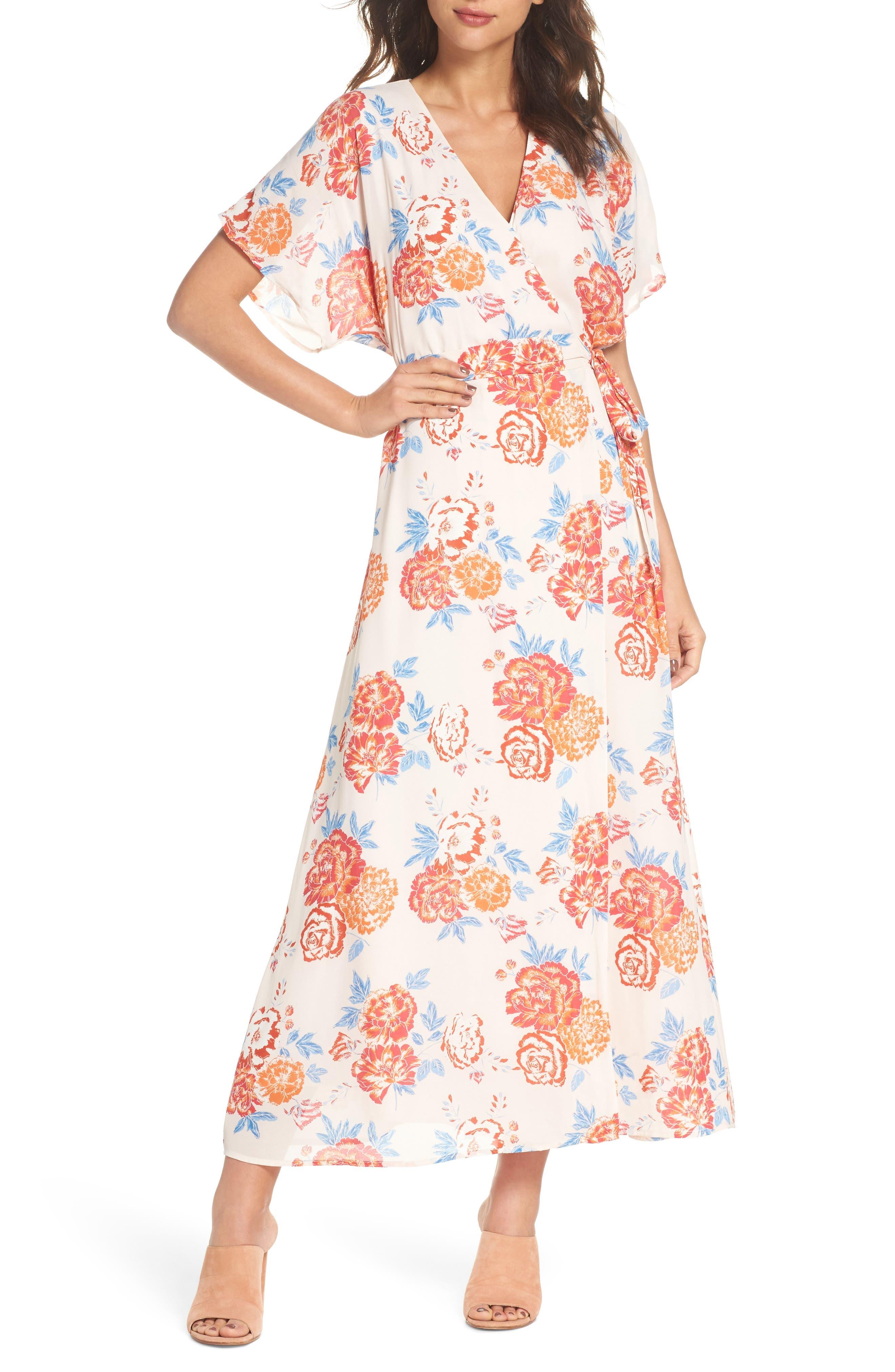 Floral Tie Waist Maxi Dress,                             Main thumbnail 1, color,                             Pink/ Coral Multi