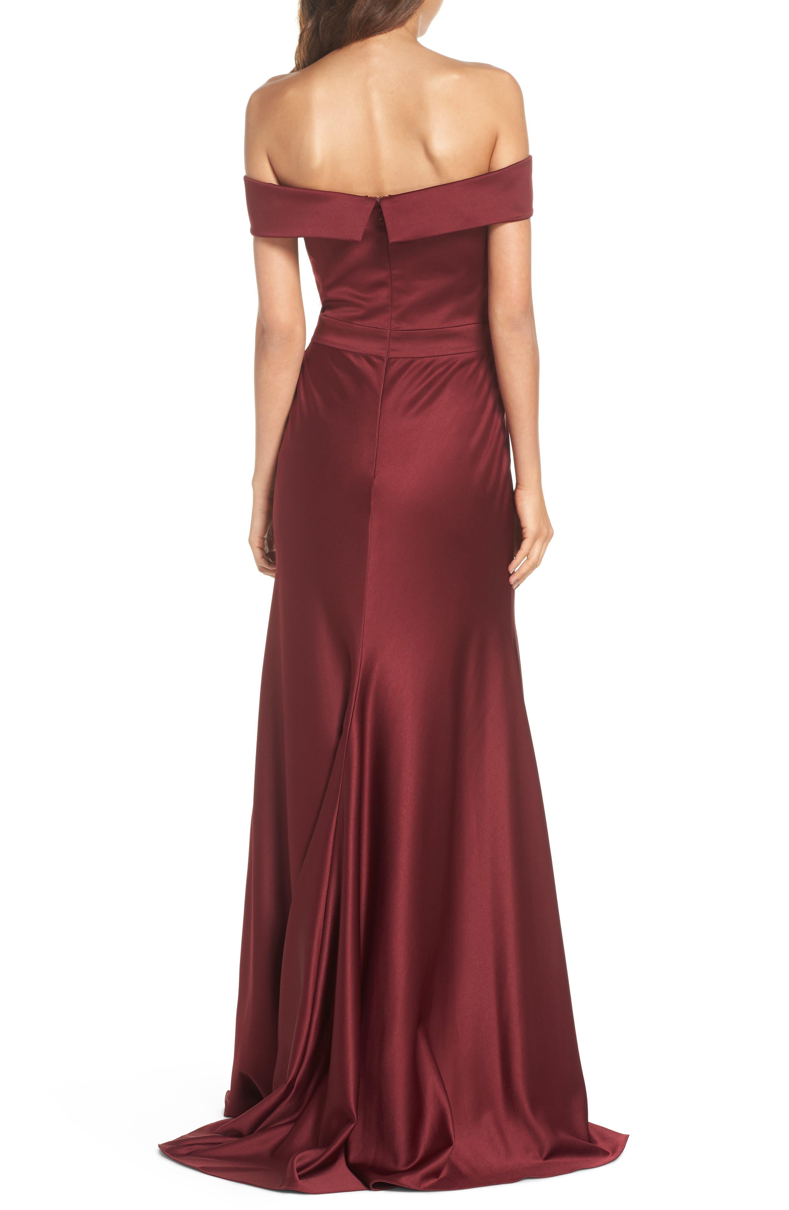 Alternate Image 2  - La Femme Satin Off the Shoulder Gown