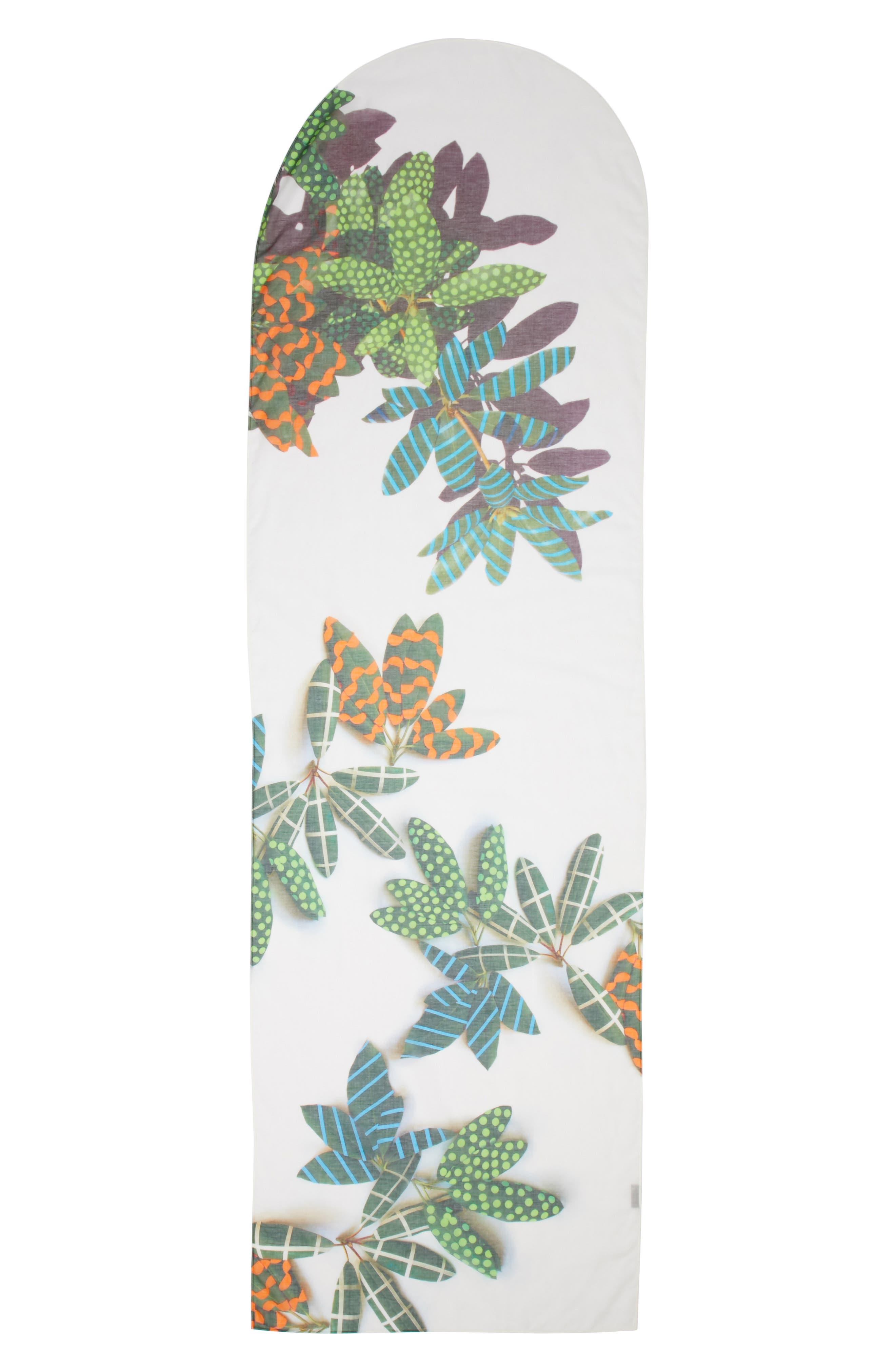 Tropical Print Cotton & Cashmere Scarf,                         Main,                         color, Cream Multi