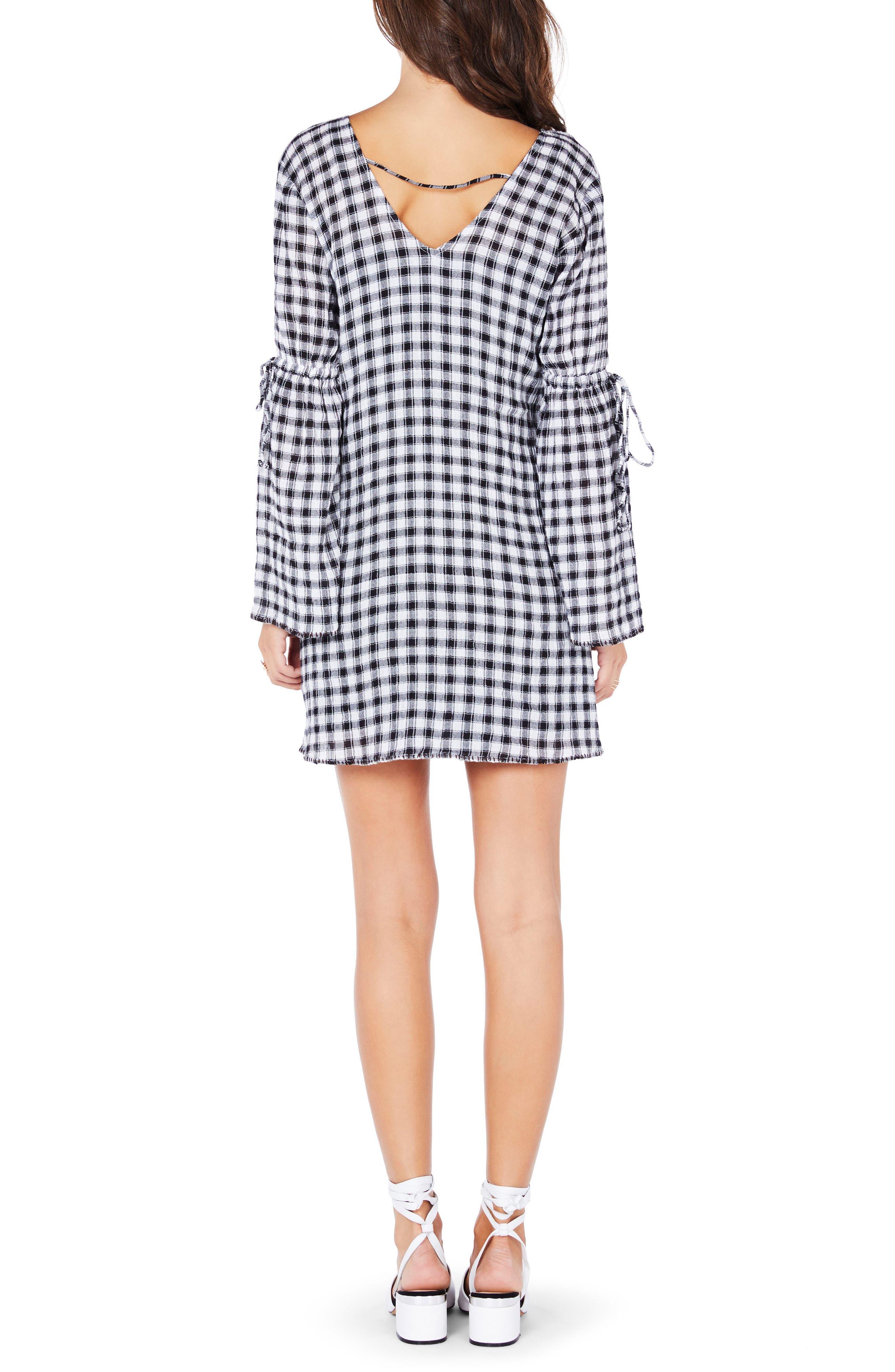 Gingham Stretch Cotton Minidress,                             Alternate thumbnail 2, color,                             Black White