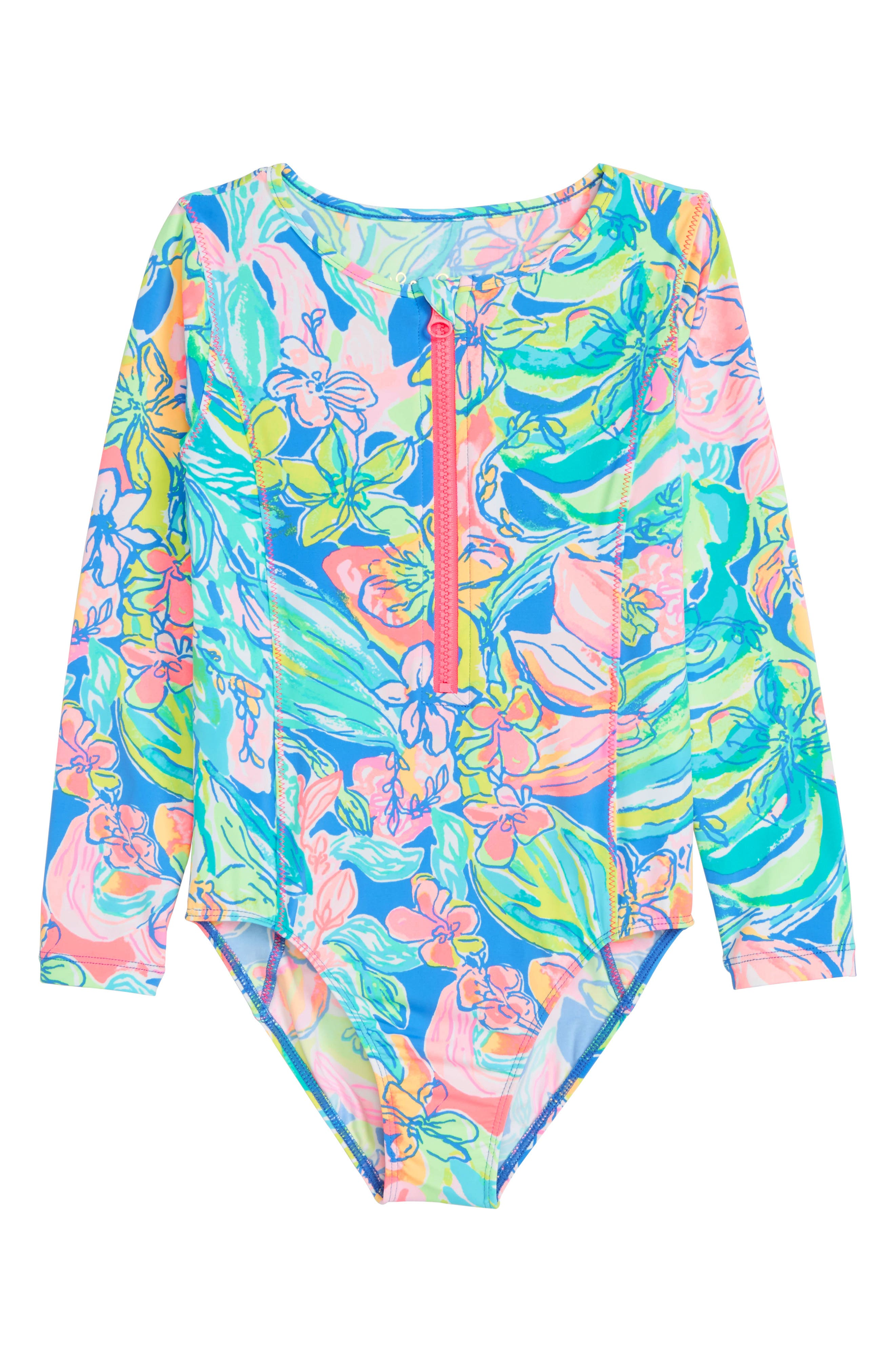 Aliana UPF 50+ One-Piece Rashguard Swimsuit,                             Main thumbnail 1, color,                             Bennet Blue Surf Gypsea