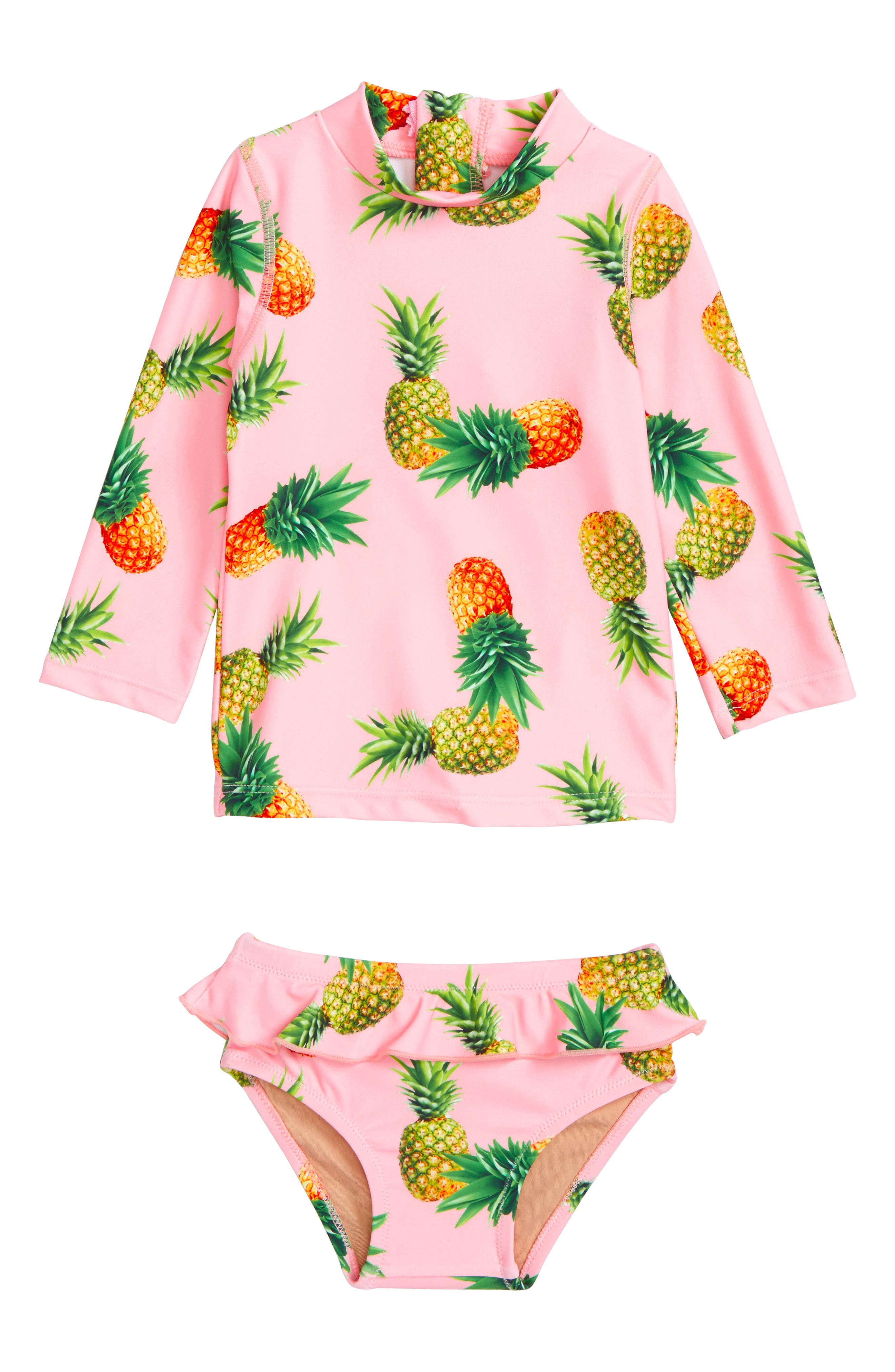 Pink Pineapple Two-Piece Rashguard Swimsuit,                             Main thumbnail 1, color,                             Navy/ Pink