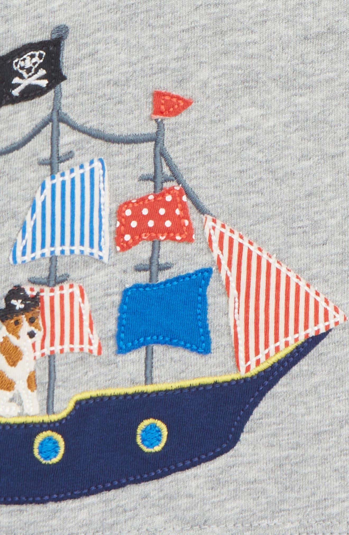 Sea Adventure Appliqué T-Shirt,                             Alternate thumbnail 2, color,                             Grey Marl/ Pirate Ship