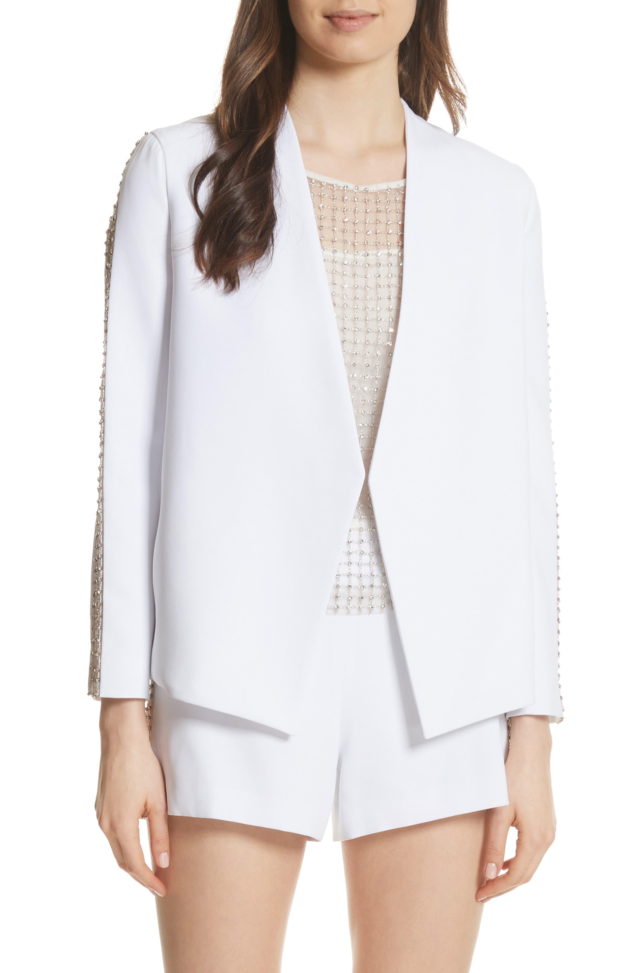 Hayes Embellished Blazer,                         Main,                         color, White